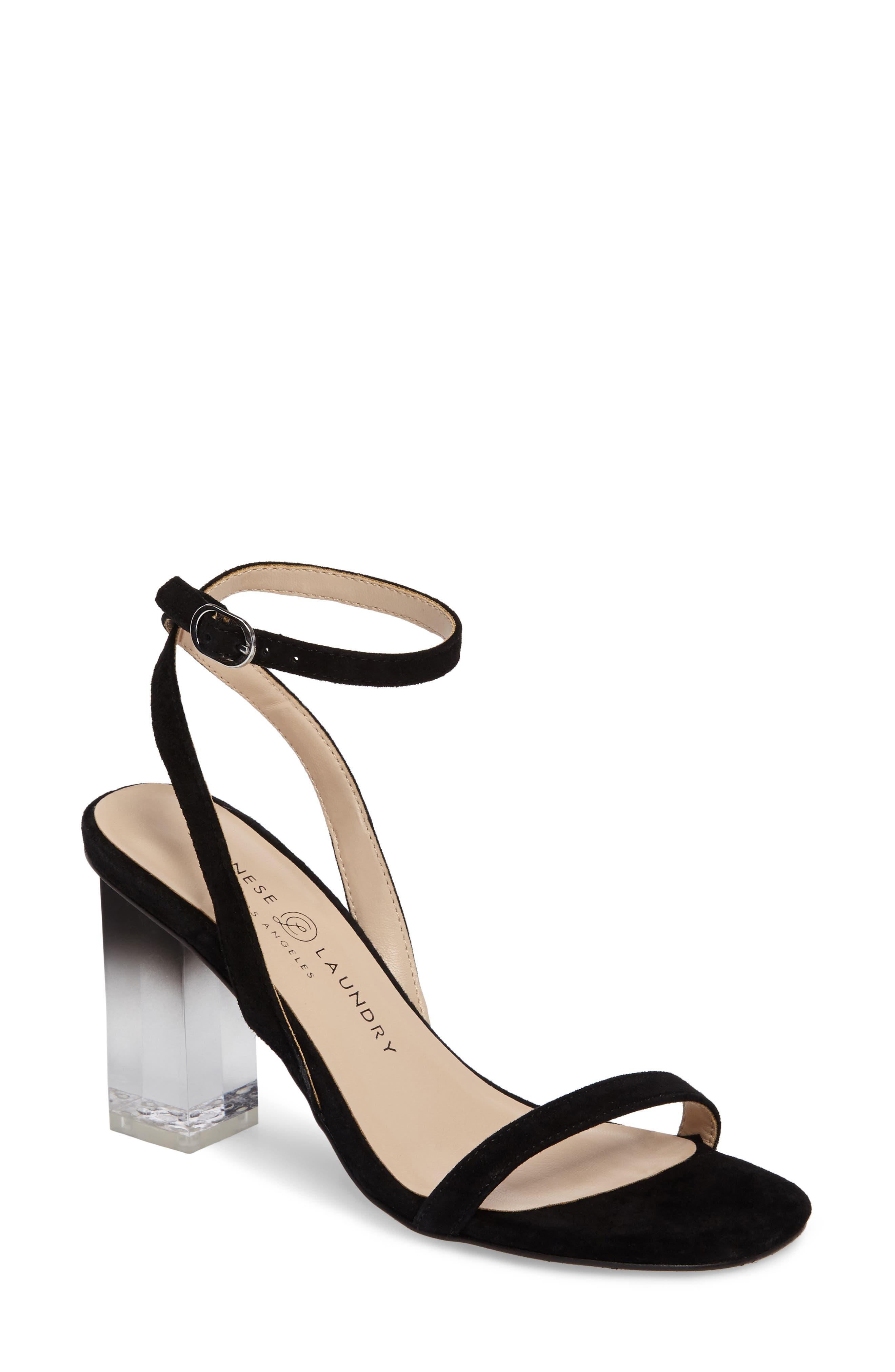 Shanie Clear Heel Sandal,                             Main thumbnail 1, color,                             001