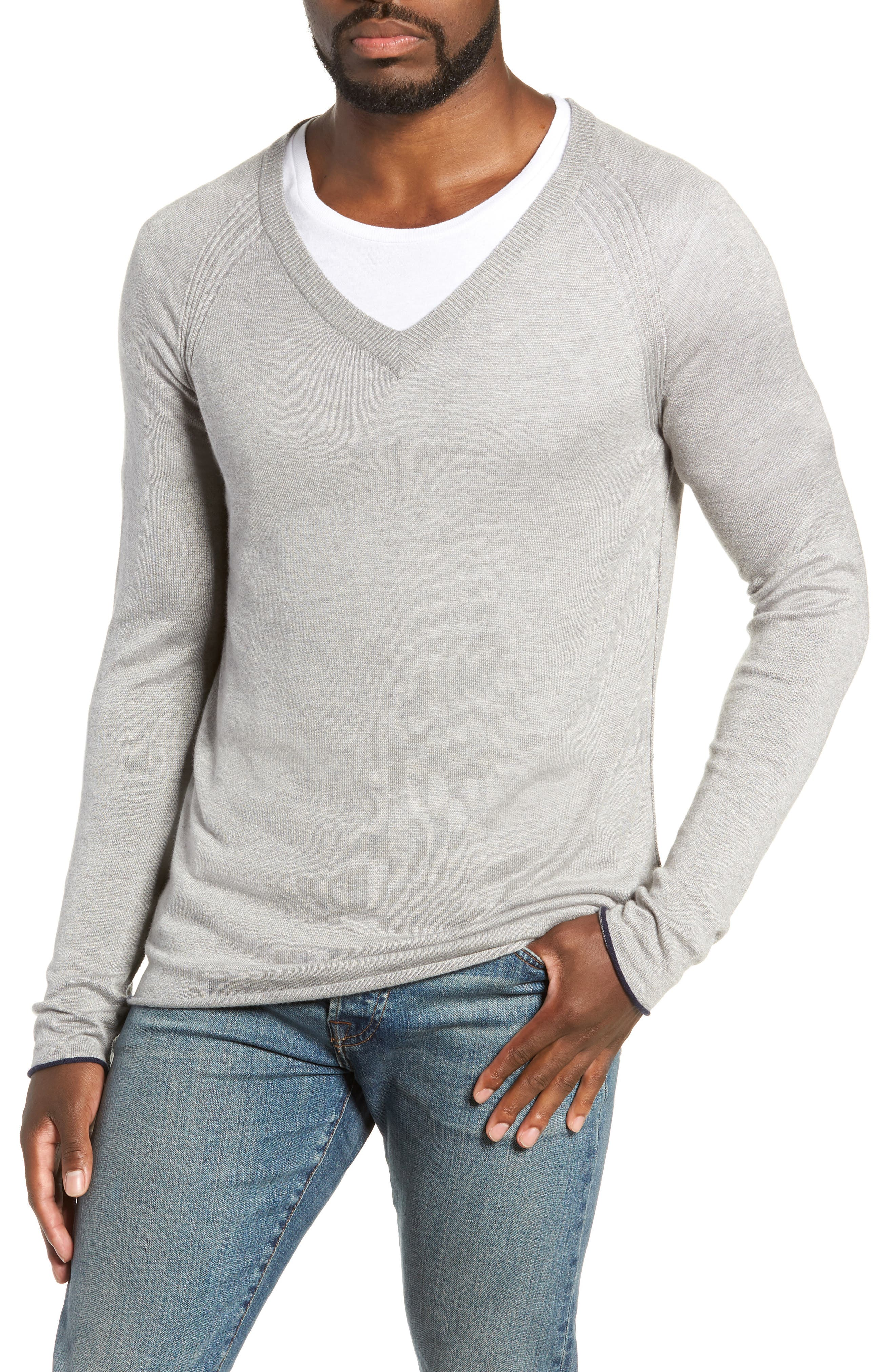 Salinas Cash V-Neck Sweater,                             Main thumbnail 1, color,                             GREY HEATHER