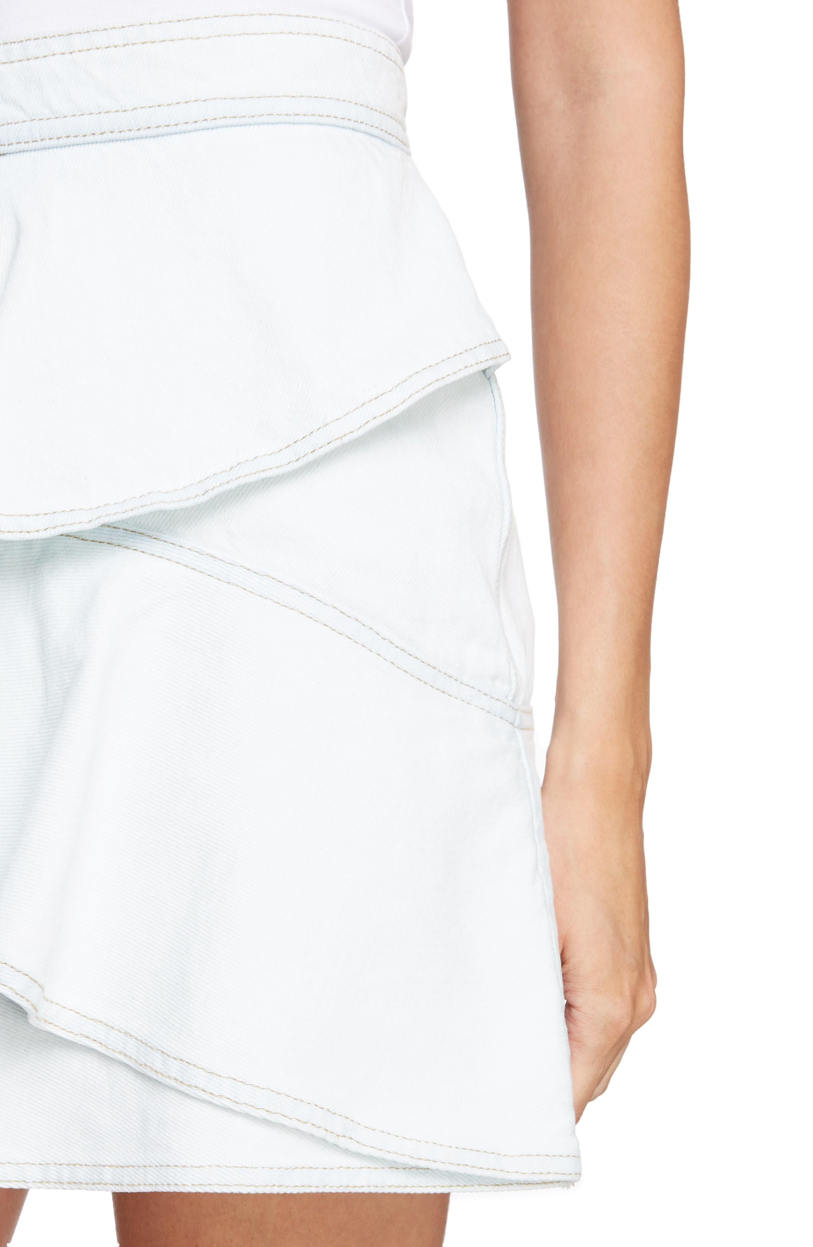 Coati Ruffle Denim Skirt,                             Alternate thumbnail 4, color,                             400