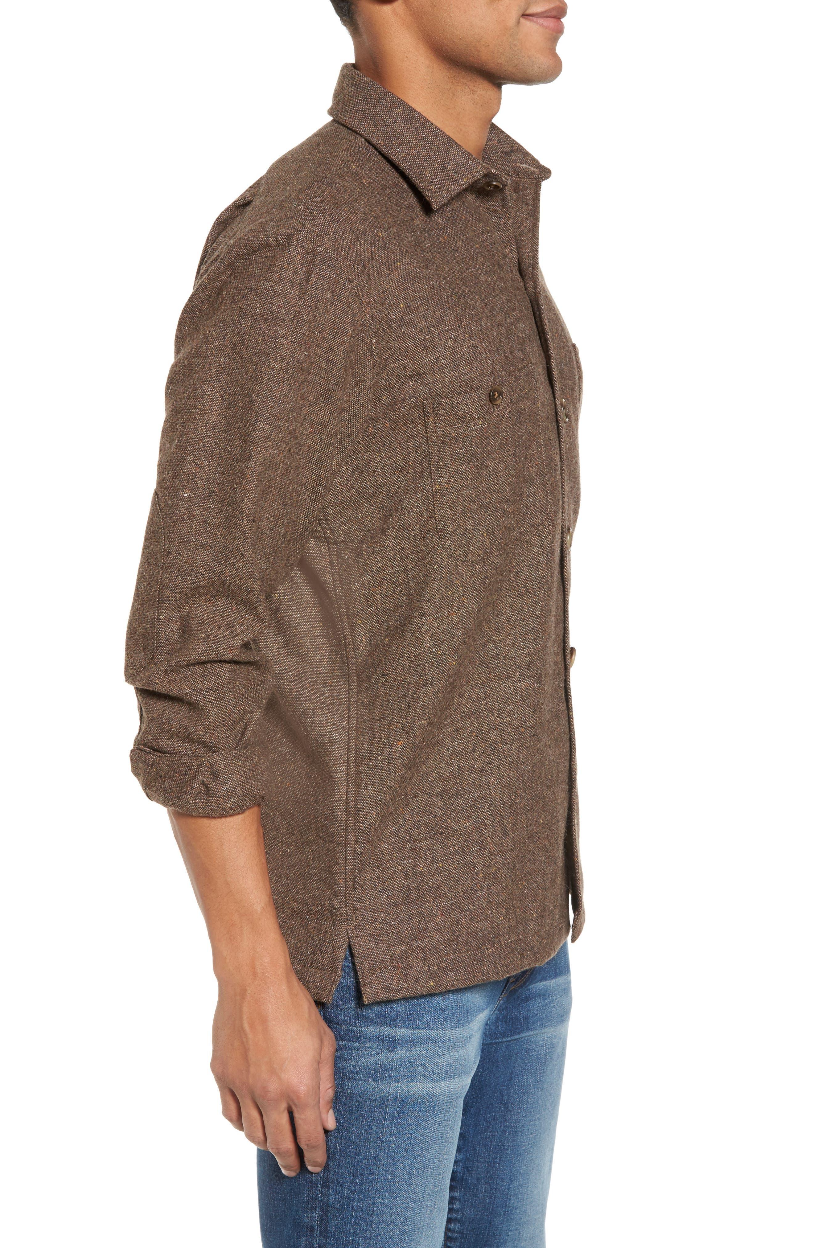 Slim Fit Wool Sport Shirt,                             Alternate thumbnail 3, color,