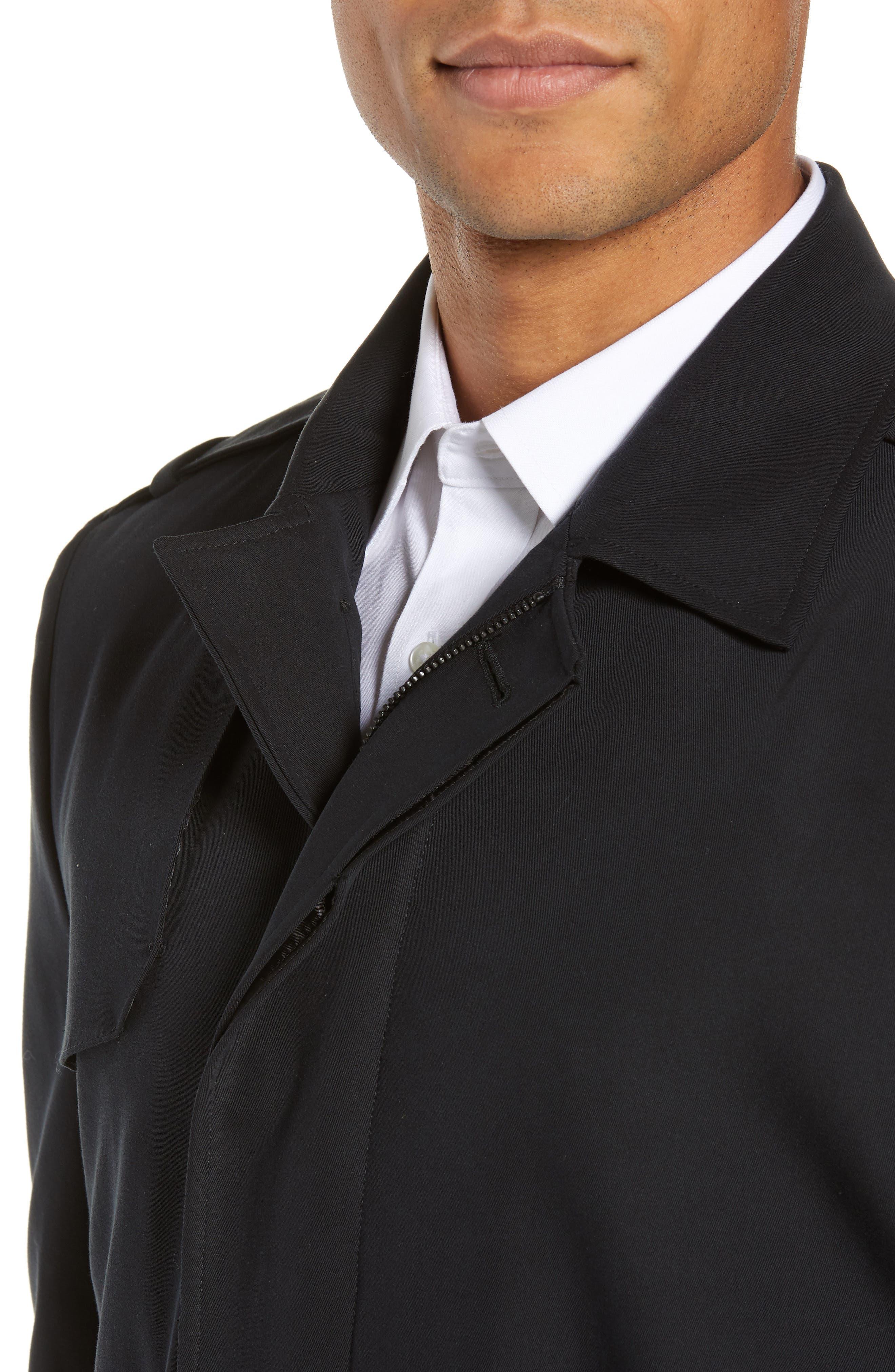 Clean Short Trench Coat,                             Alternate thumbnail 4, color,                             BLACK