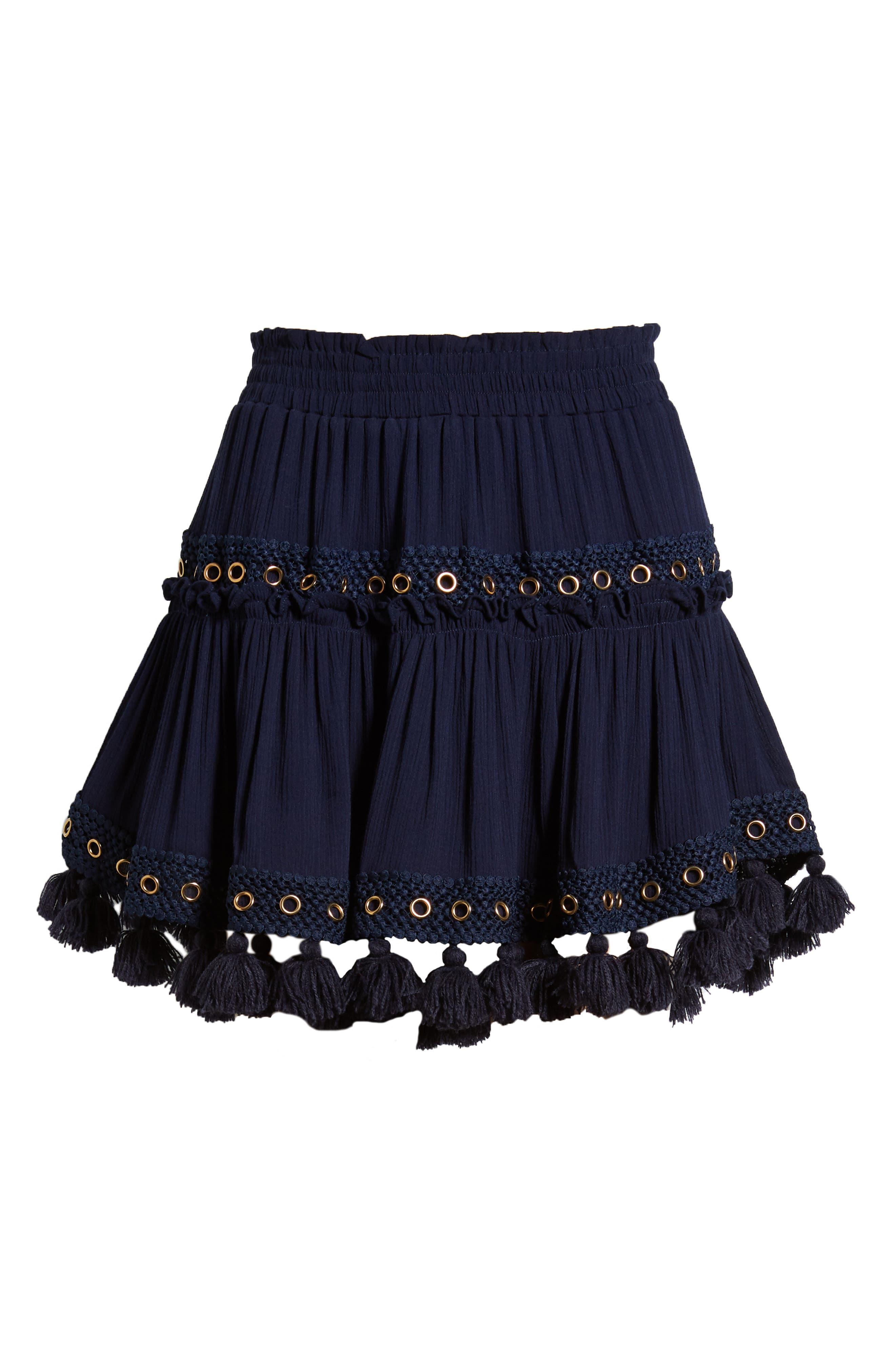 Marcella Fringe Trim Skirt,                             Alternate thumbnail 6, color,                             AZURE