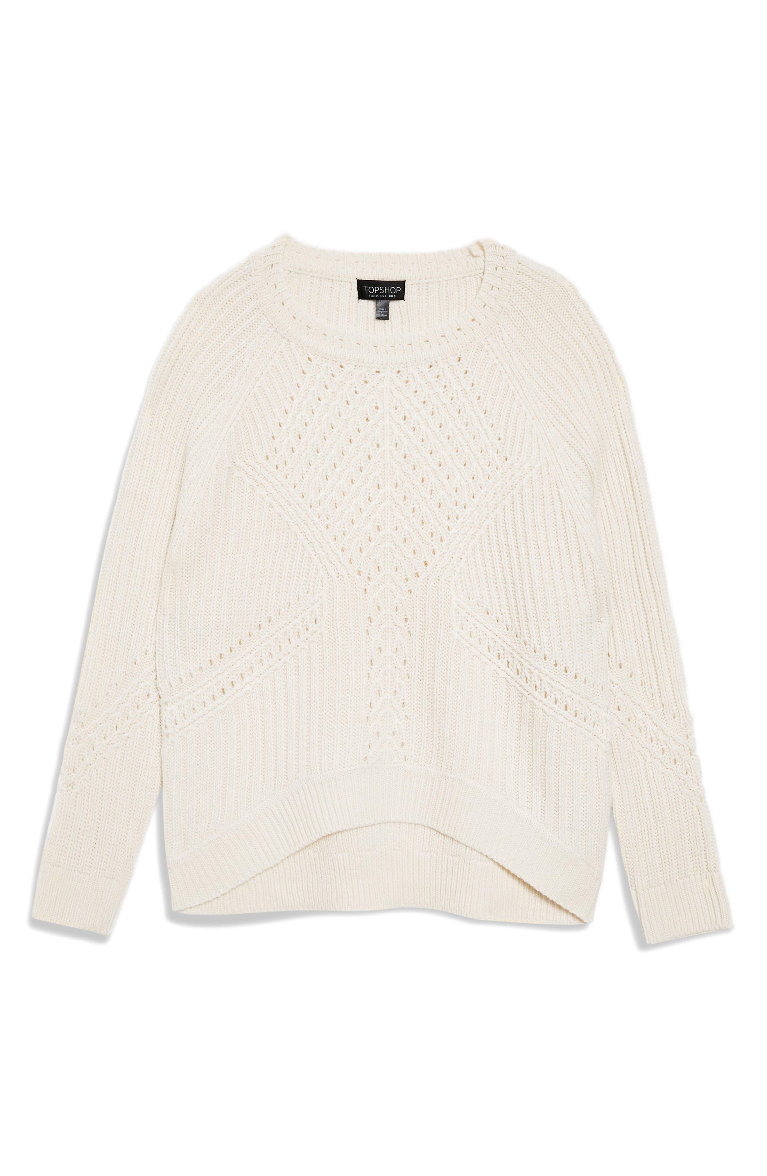Rib & Pointelle Stitch Sweater,                             Alternate thumbnail 4, color,                             IVORY