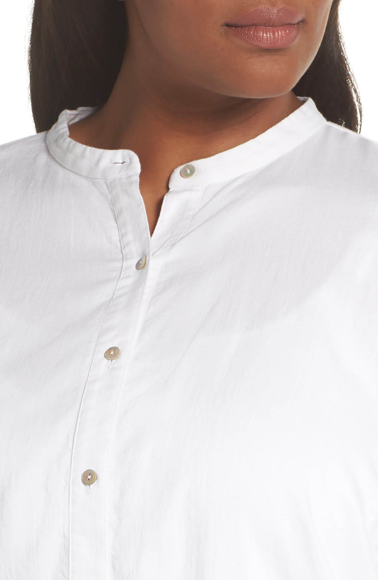 EILEEN FISHER,                             Mandarin Collar Organic Cotton Tunic Shirt,                             Alternate thumbnail 4, color,                             IVORY