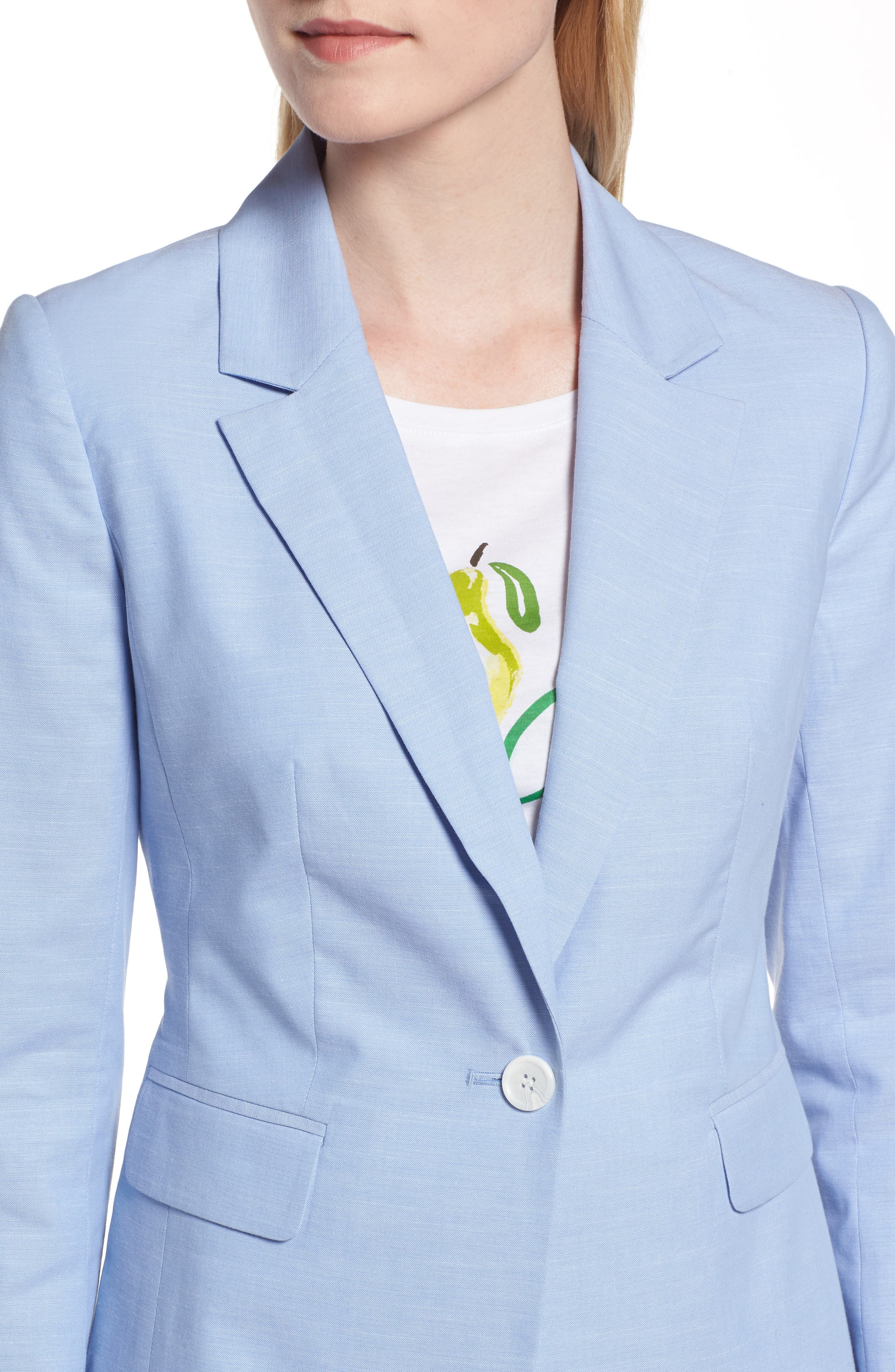 Cotton Chambray Blazer,                             Alternate thumbnail 4, color,                             CHAMBRAY