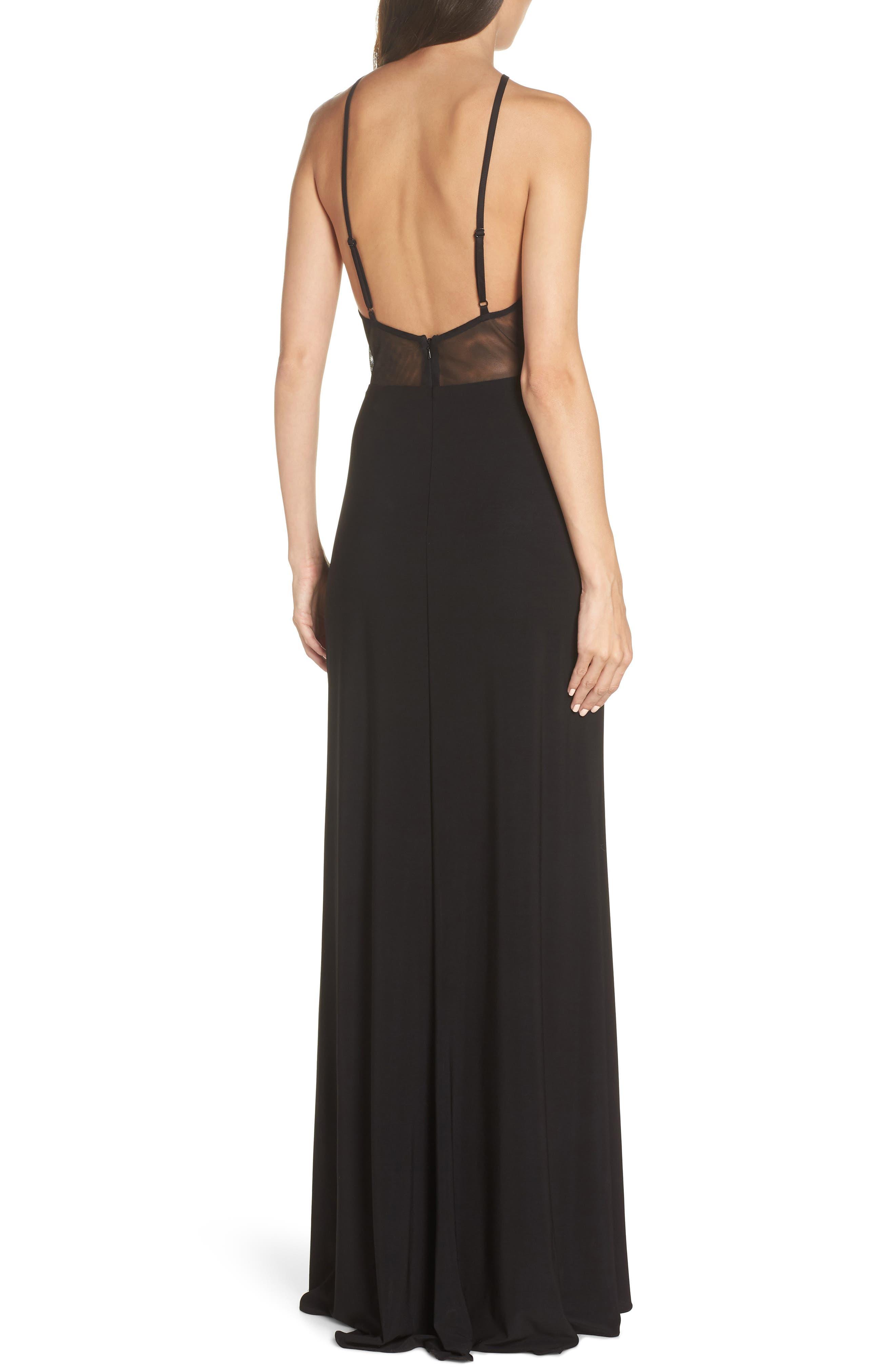 BLONDIE NITES,                             Embellished Appliqué Halter Gown,                             Alternate thumbnail 2, color,                             BLACK/ GOLD