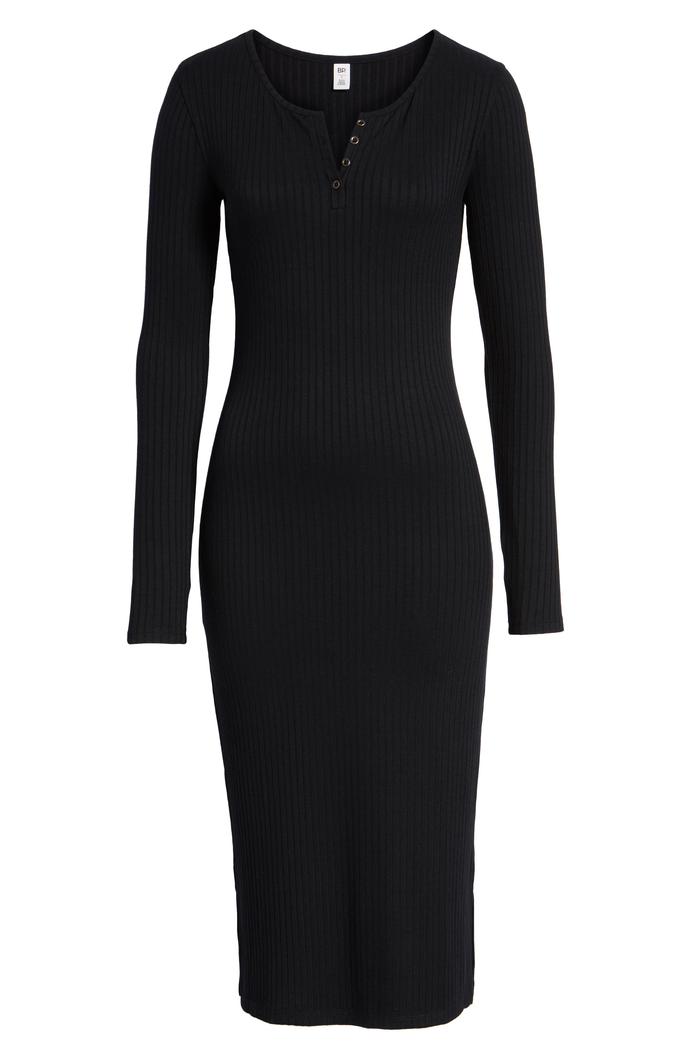 Ribbed Henley Midi Dress,                             Alternate thumbnail 8, color,                             BLACK