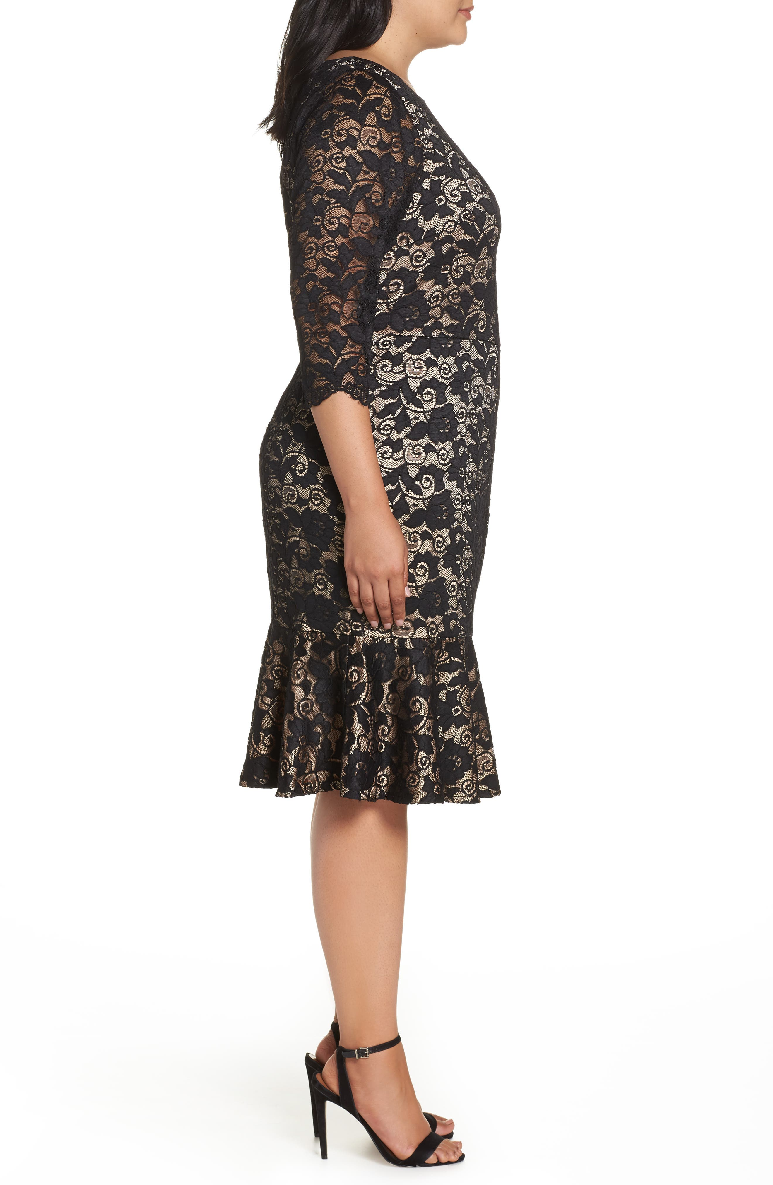 Flounce Hem Lace Dress,                             Alternate thumbnail 3, color,                             001