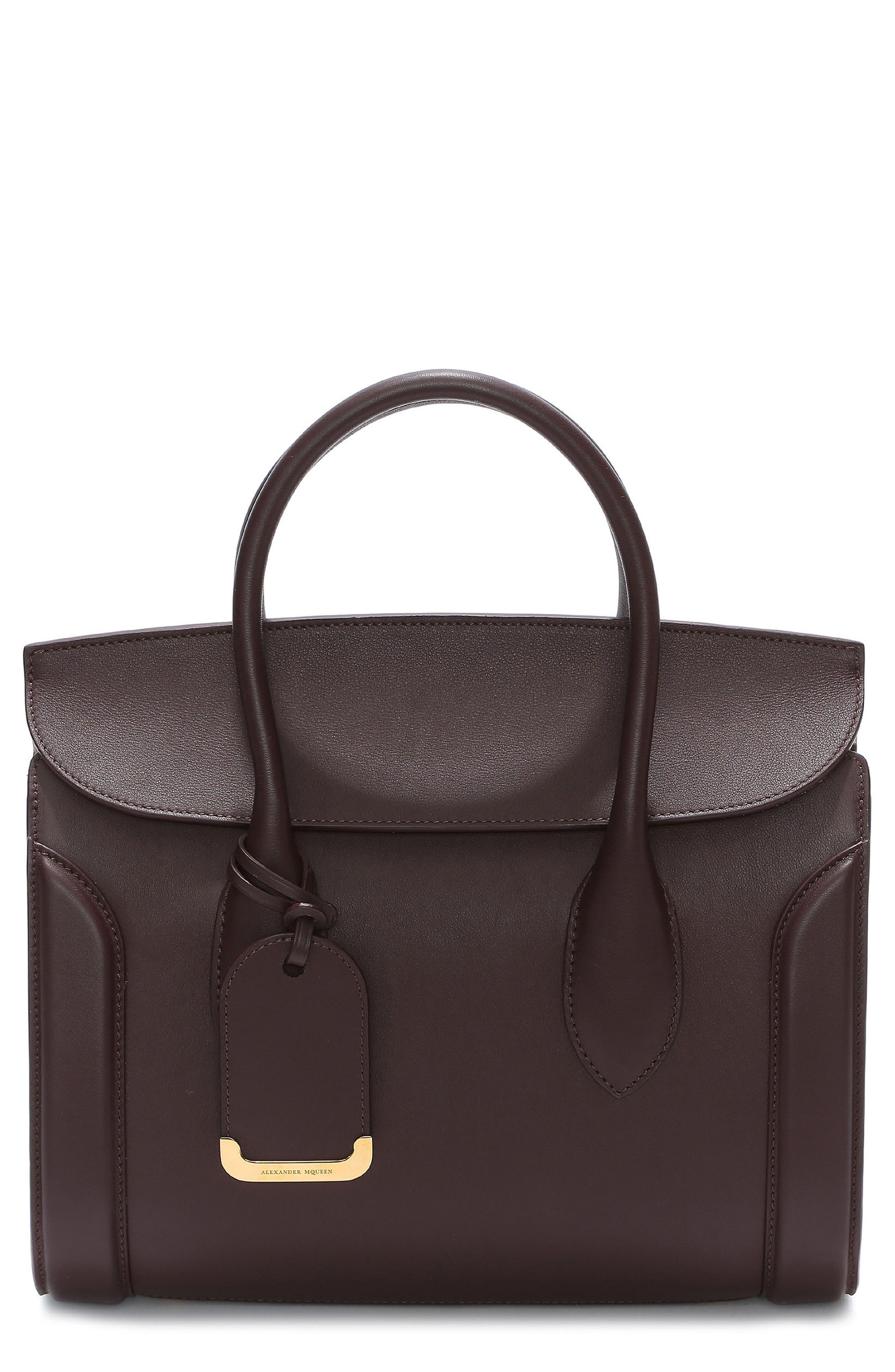 Medium Heroine Calfskin Leather Shopper,                         Main,                         color, BURGUNDY