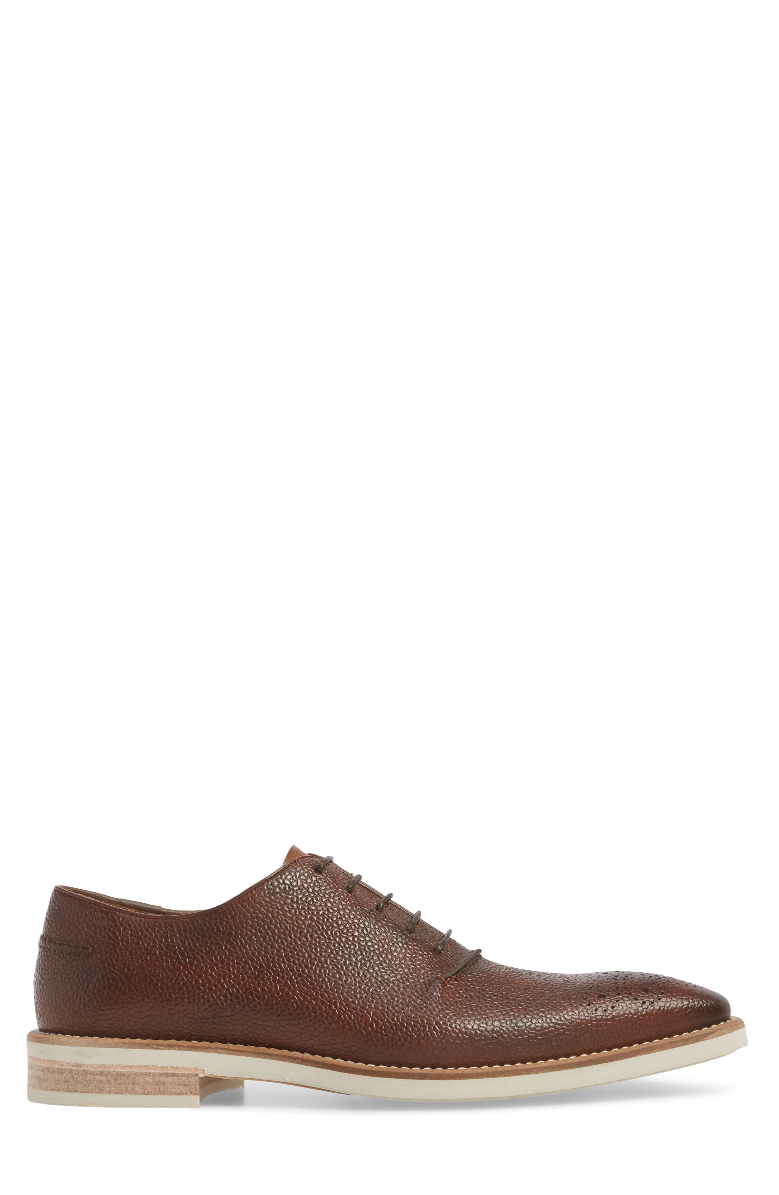 Polux Brogued Oxford,                             Alternate thumbnail 3, color,                             COGNAC LEATHER