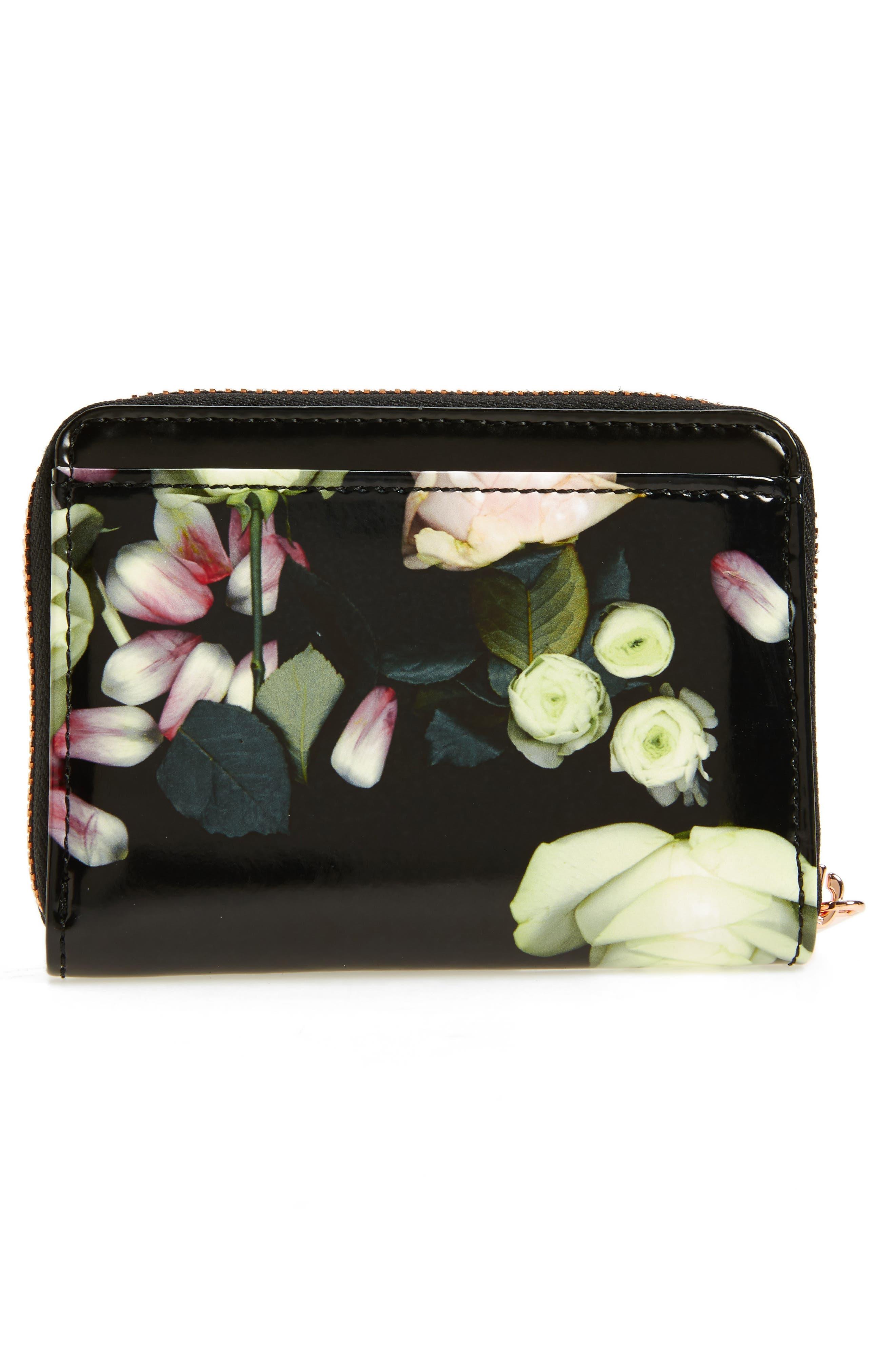 Mayycie Kensington Floral Leather Mini Purse,                             Alternate thumbnail 4, color,                             001
