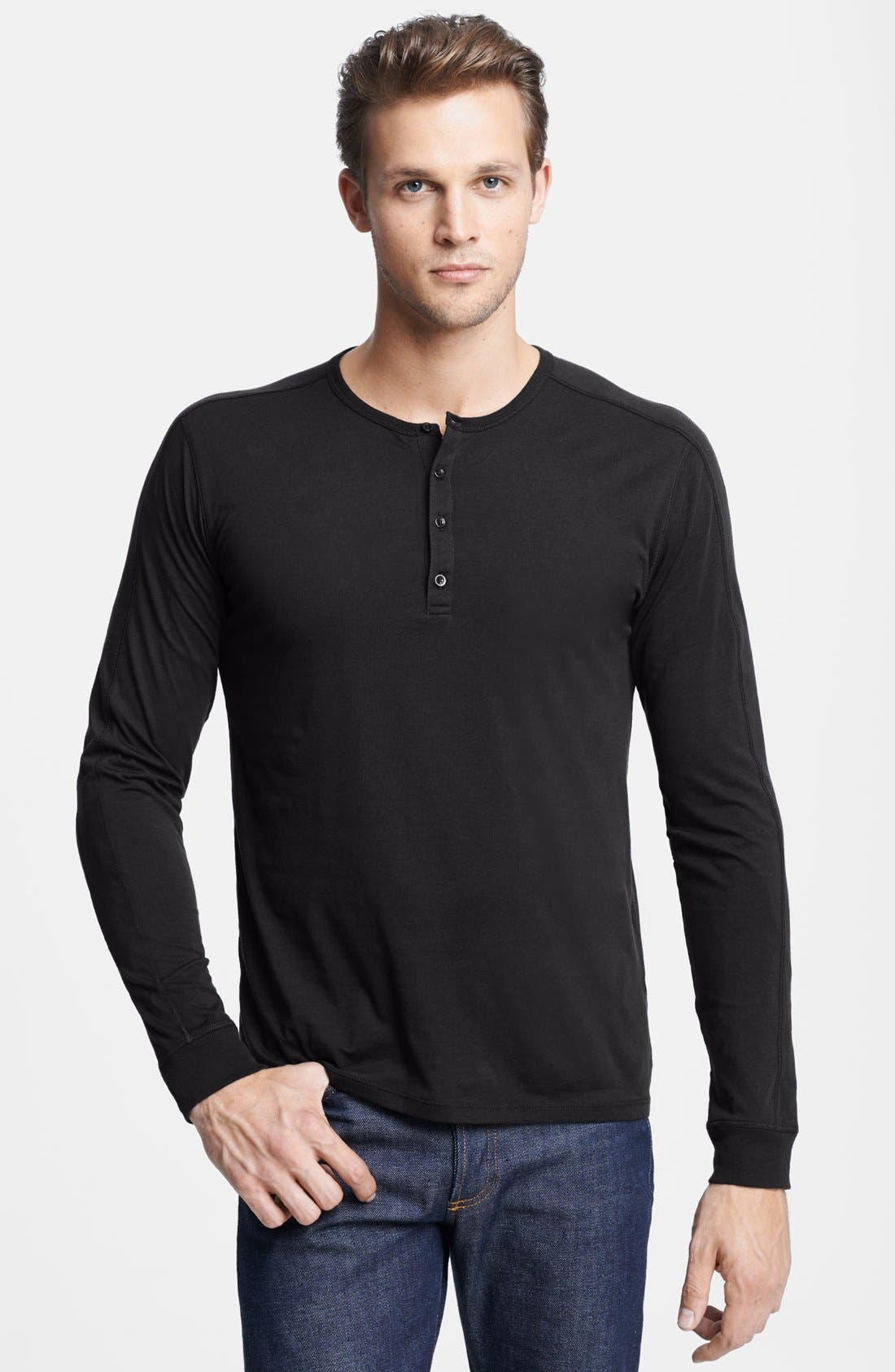 Long Sleeve Knit Henley,                         Main,                         color, 001