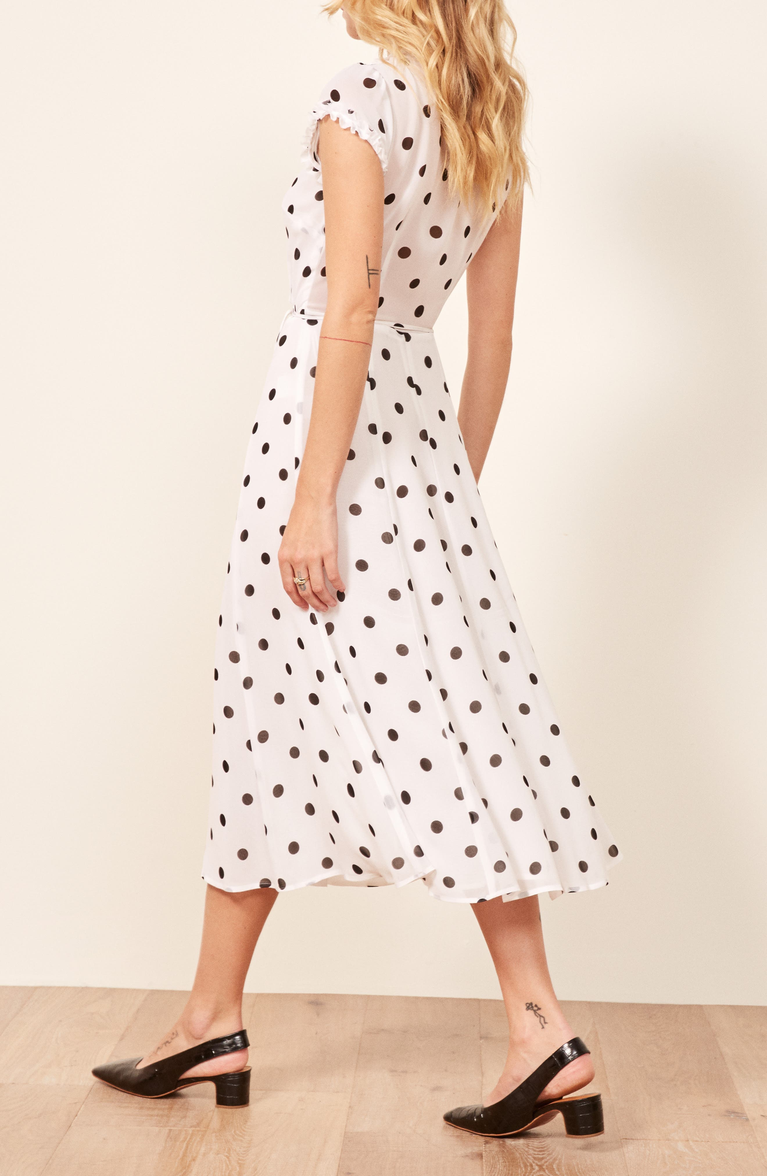 Gwenyth Polka Dot Wrap Dress,                             Alternate thumbnail 3, color,                             COMET