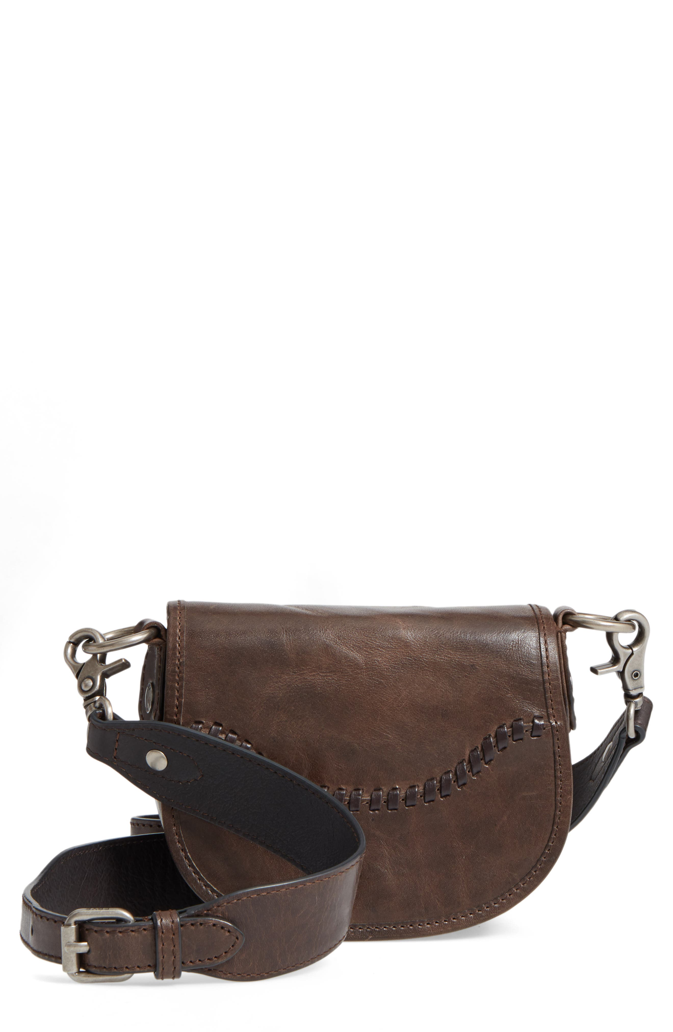 Mini Melissa Whipstitch Leather Saddle Bag,                             Main thumbnail 1, color,                             203