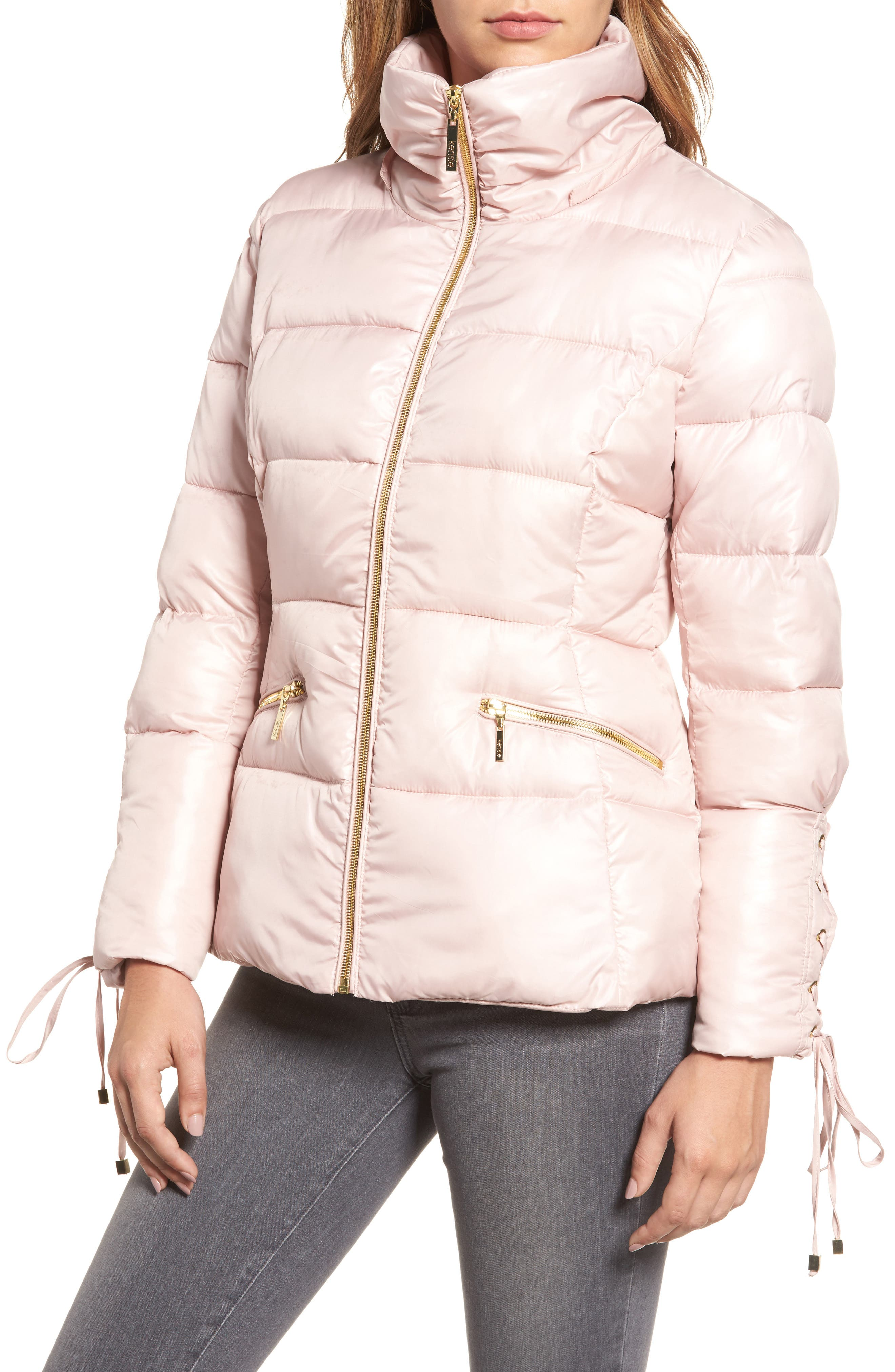 Lace Sleeve Puffer Coat with Faux Fur Trim Hood,                             Alternate thumbnail 8, color,