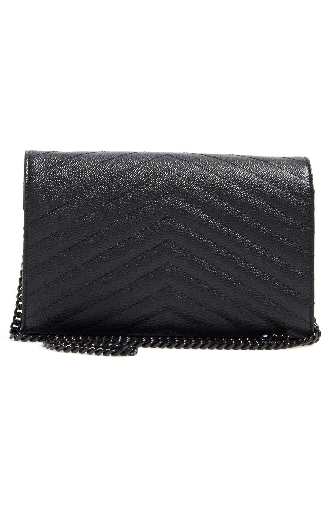 Monogram Quilted Leather Wallet on a Chain,                             Alternate thumbnail 6, color,                             NERO