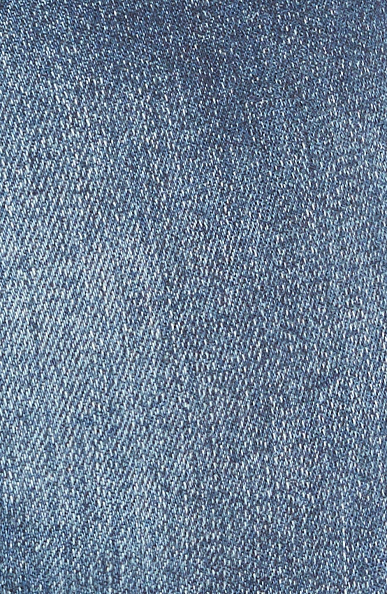 Cuffed High Waist Denim Shorts,                             Alternate thumbnail 5, color,                             401