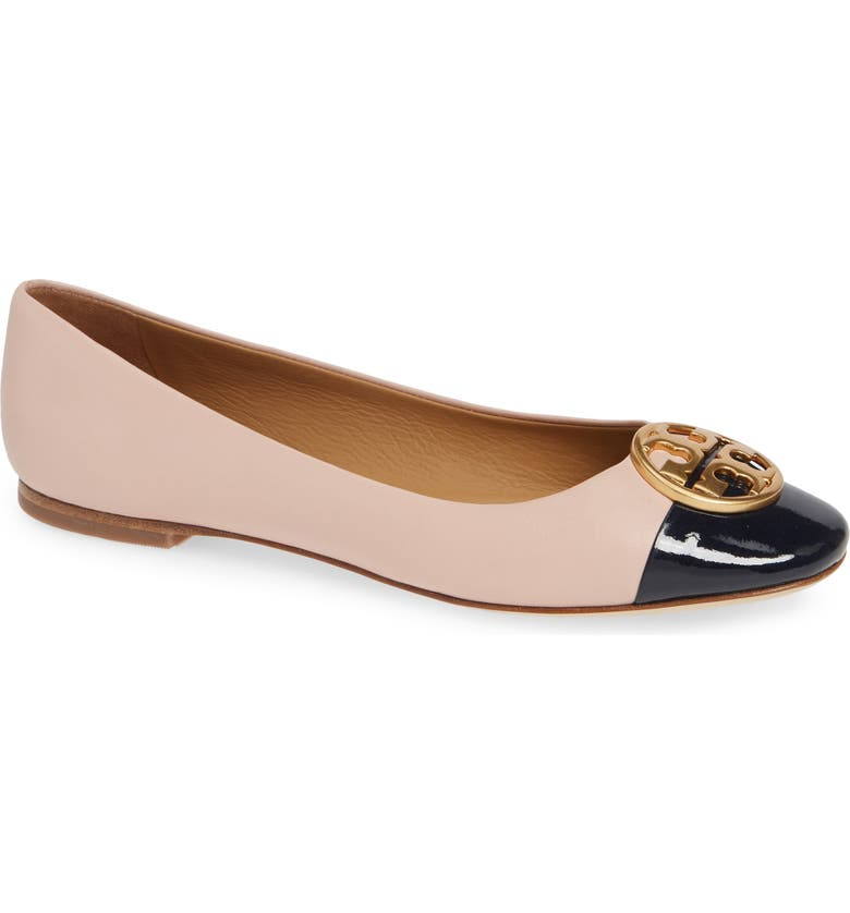 bbaedfb3f3e9 Tory Burch Seashell Pink Nappa   Perfect Navy Patent Leather Chelsea Cap-Toe  Ballet Flats