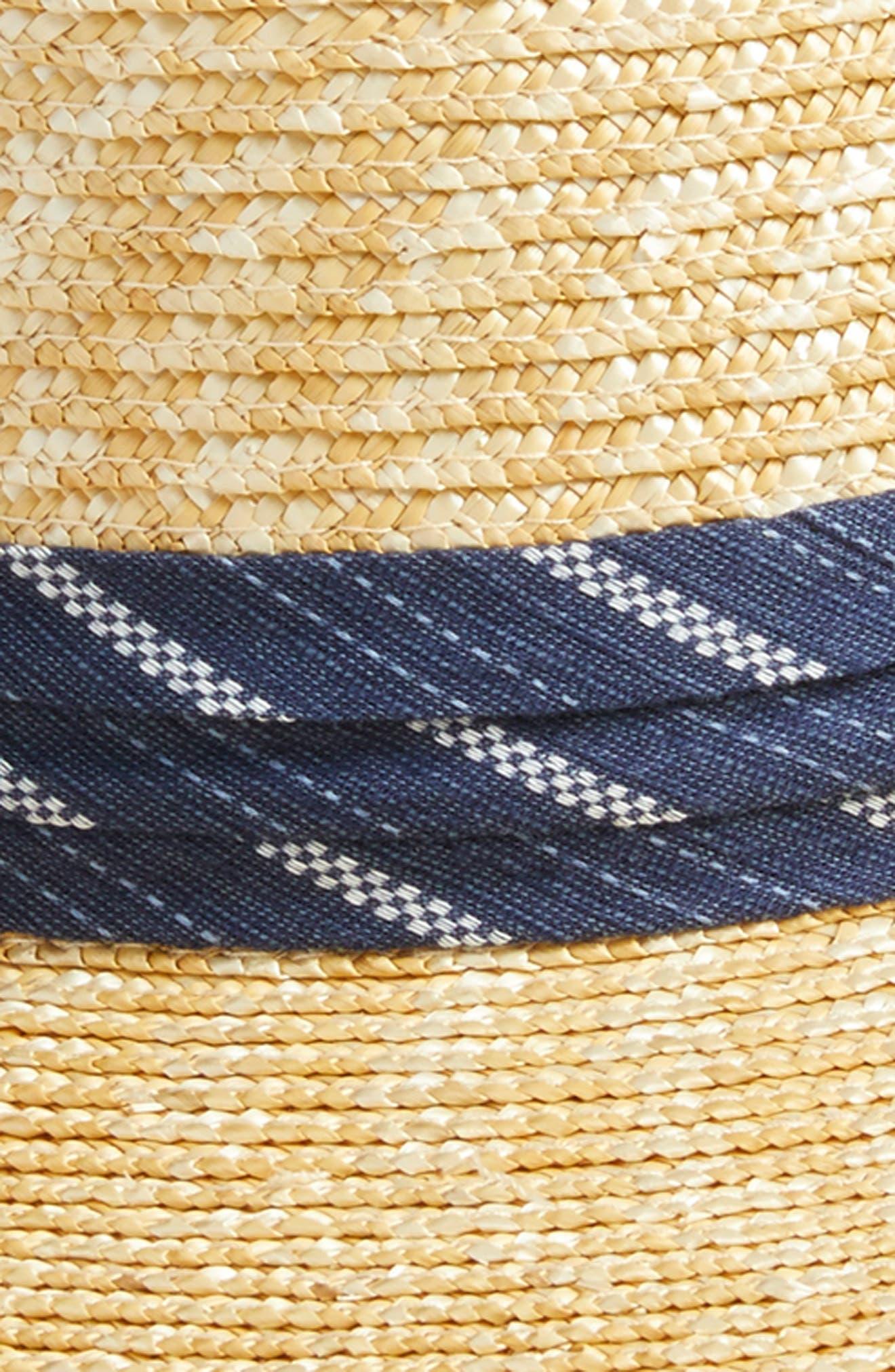 Denim Banded Straw Boater Hat,                             Alternate thumbnail 2, color,                             264