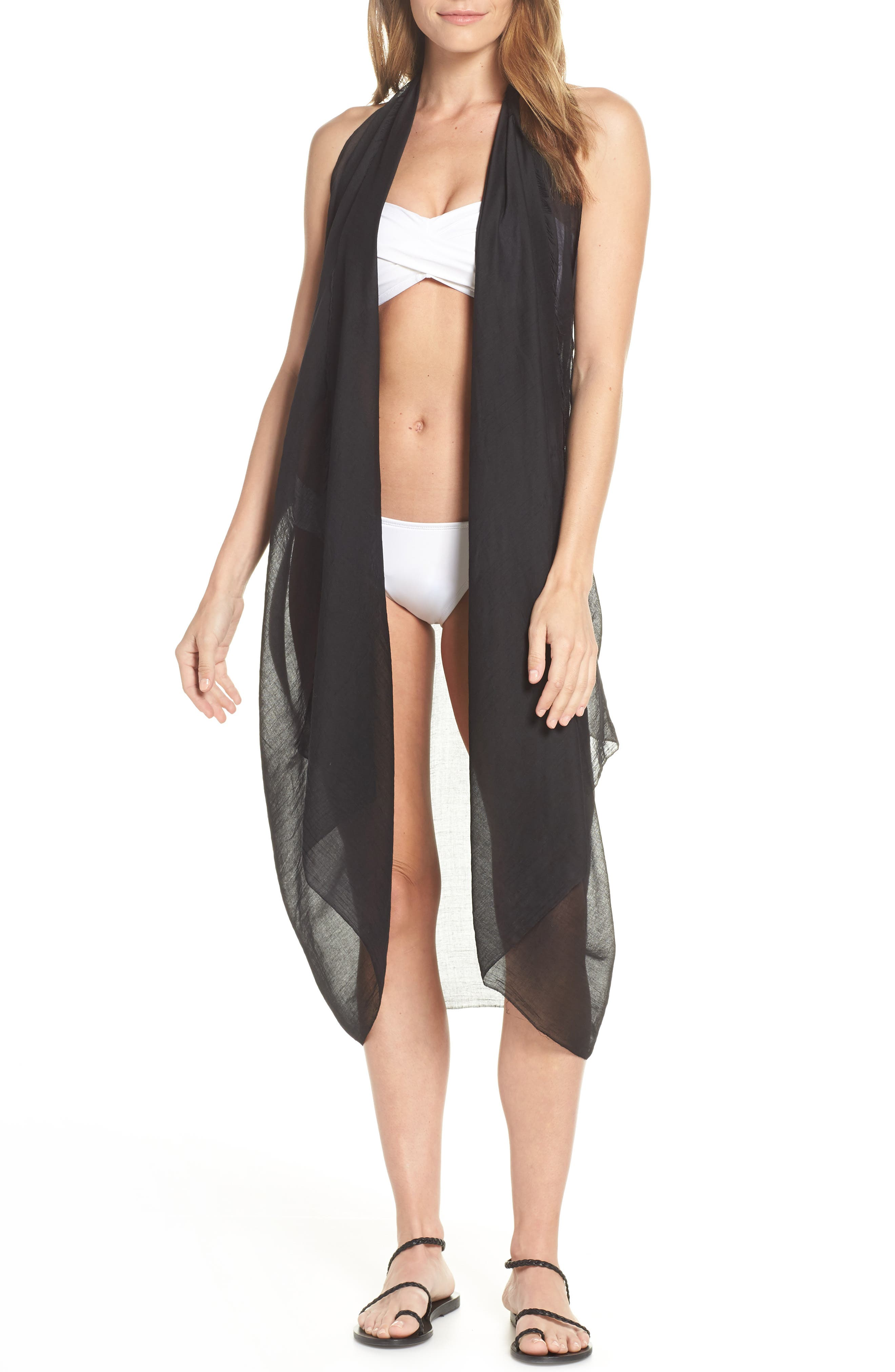 Pool To Party Spirit Cover-Up Vest, Size One Size - Black