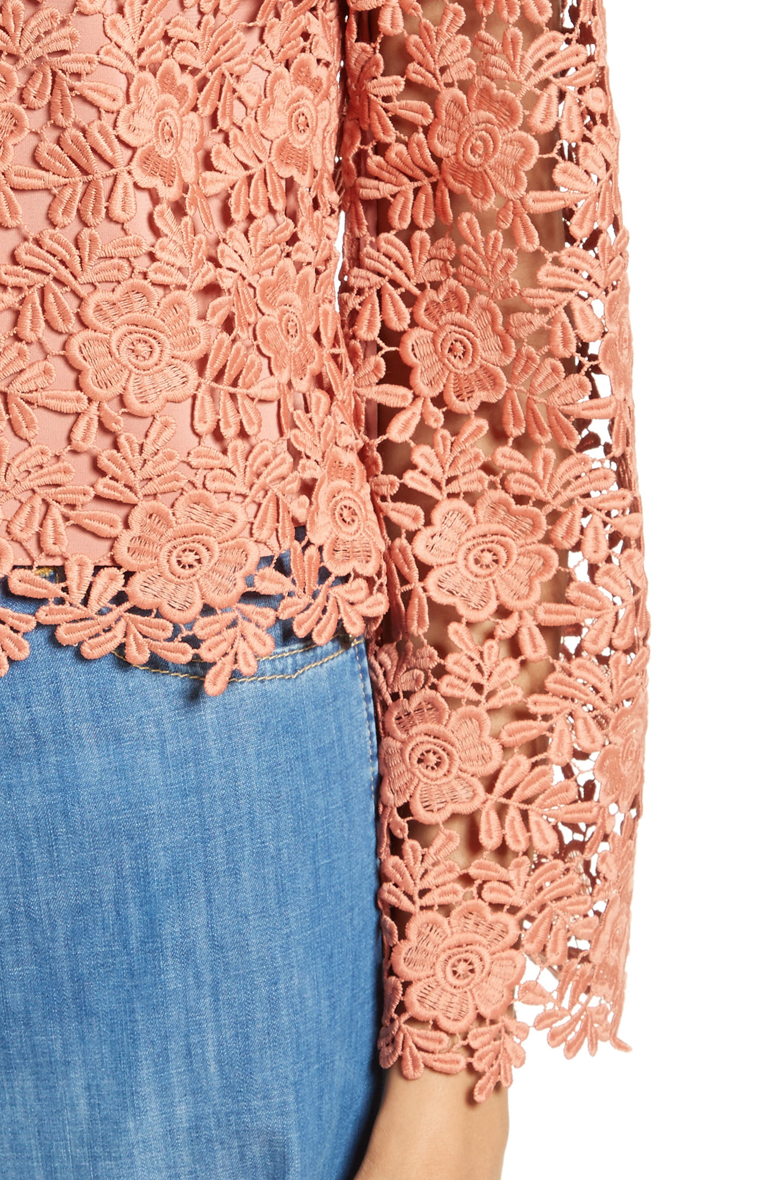 Pasha Bell Sleeve Lace Top,                             Alternate thumbnail 4, color,                             662