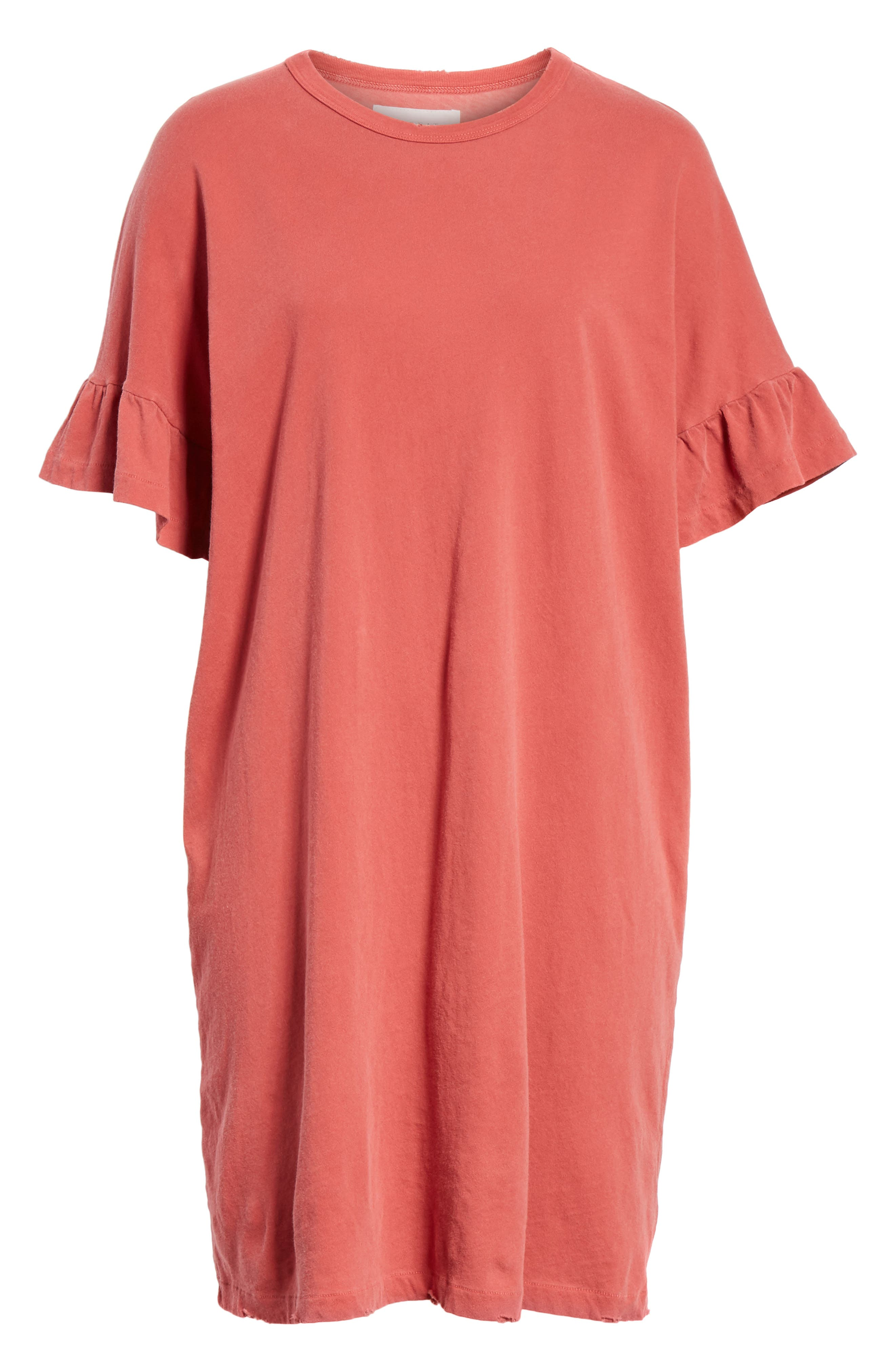 Ruffle Sleeve T-Shirt Dress,                             Alternate thumbnail 6, color,