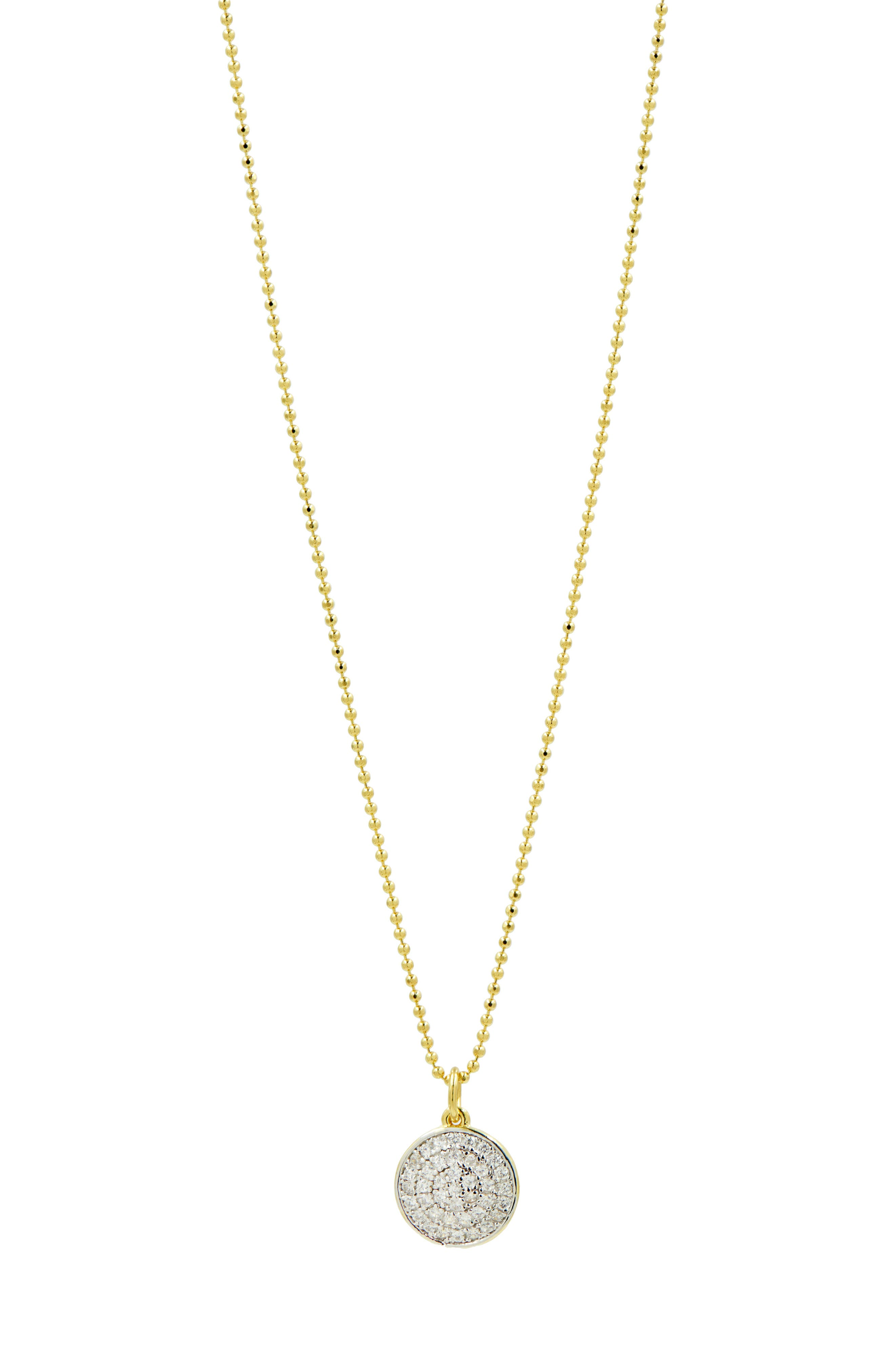 FREIDA ROTHMAN Radiance Pave Disc Pendant Necklace in Gold