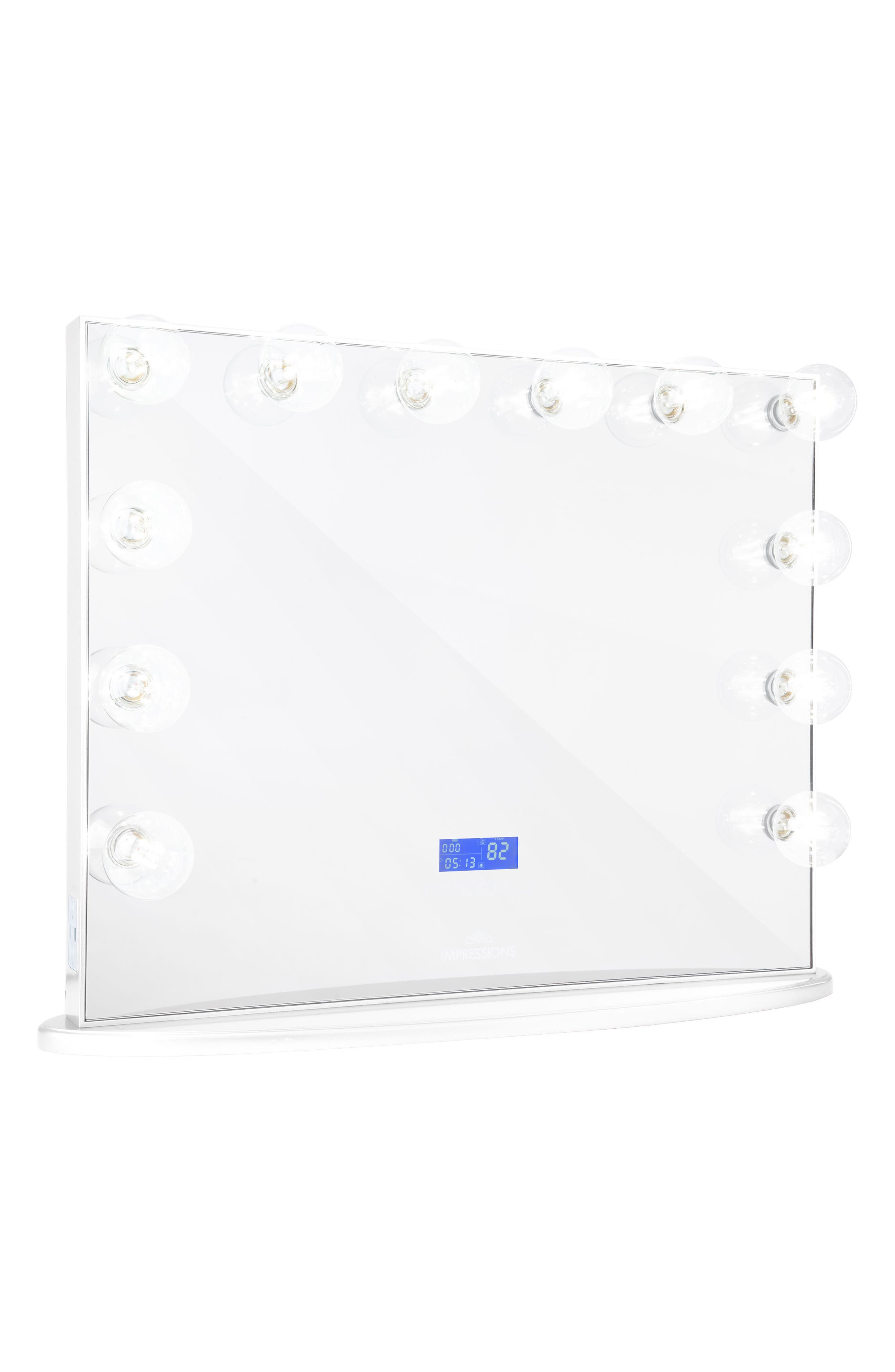 Hollywood Glow<sup>™</sup> Plus BT Vanity Mirror with Bluetooth<sup>®</sup> Speakers,                             Main thumbnail 1, color,                             WHITE
