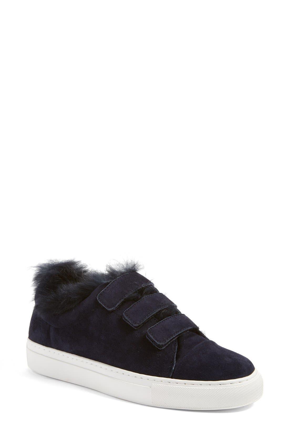 'Boe' Genuine Rabbit Fur & Shearling Lined Platform Sneaker,                             Main thumbnail 1, color,                             425