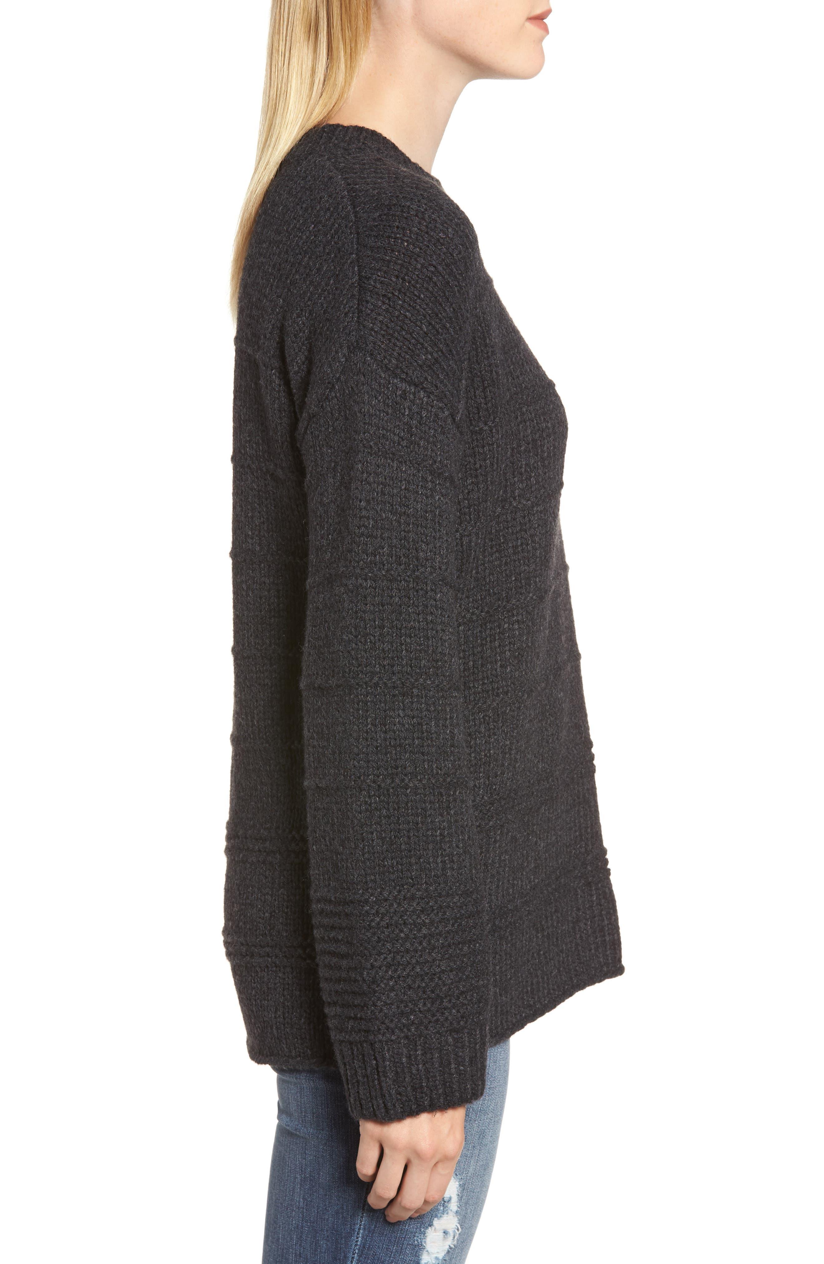 Stripe Stitch Wool Alpaca Blend Sweater,                             Alternate thumbnail 3, color,                             COAL