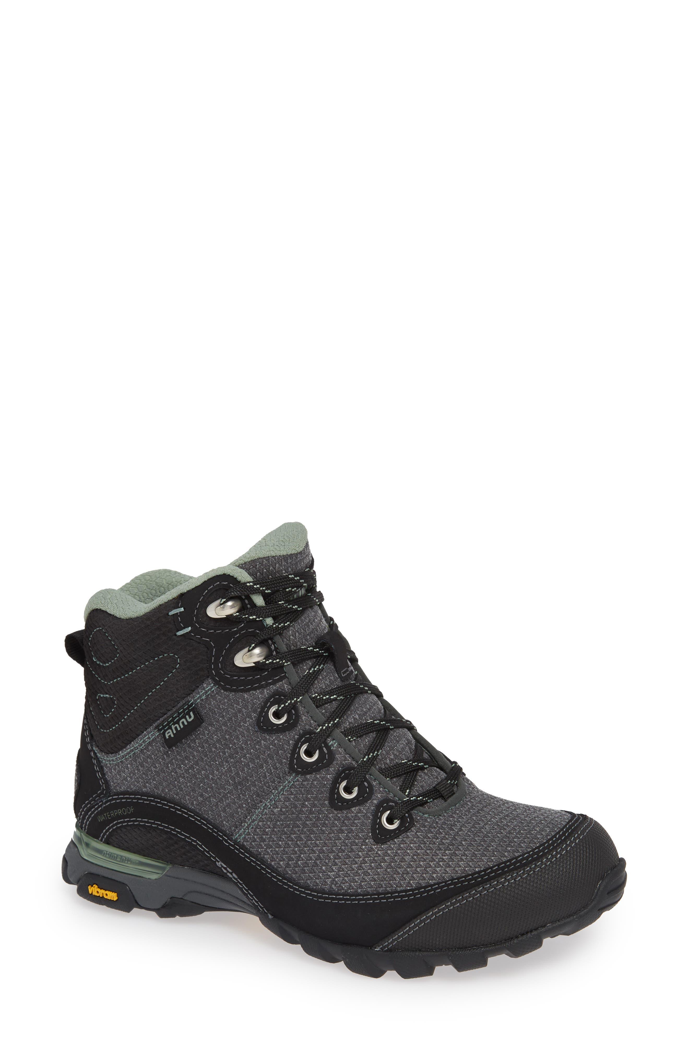 Ahnu by Teva Sugarpine II Waterproof Hiking Boot,                             Main thumbnail 1, color,                             BLACK/ GREEN BAY FABRIC