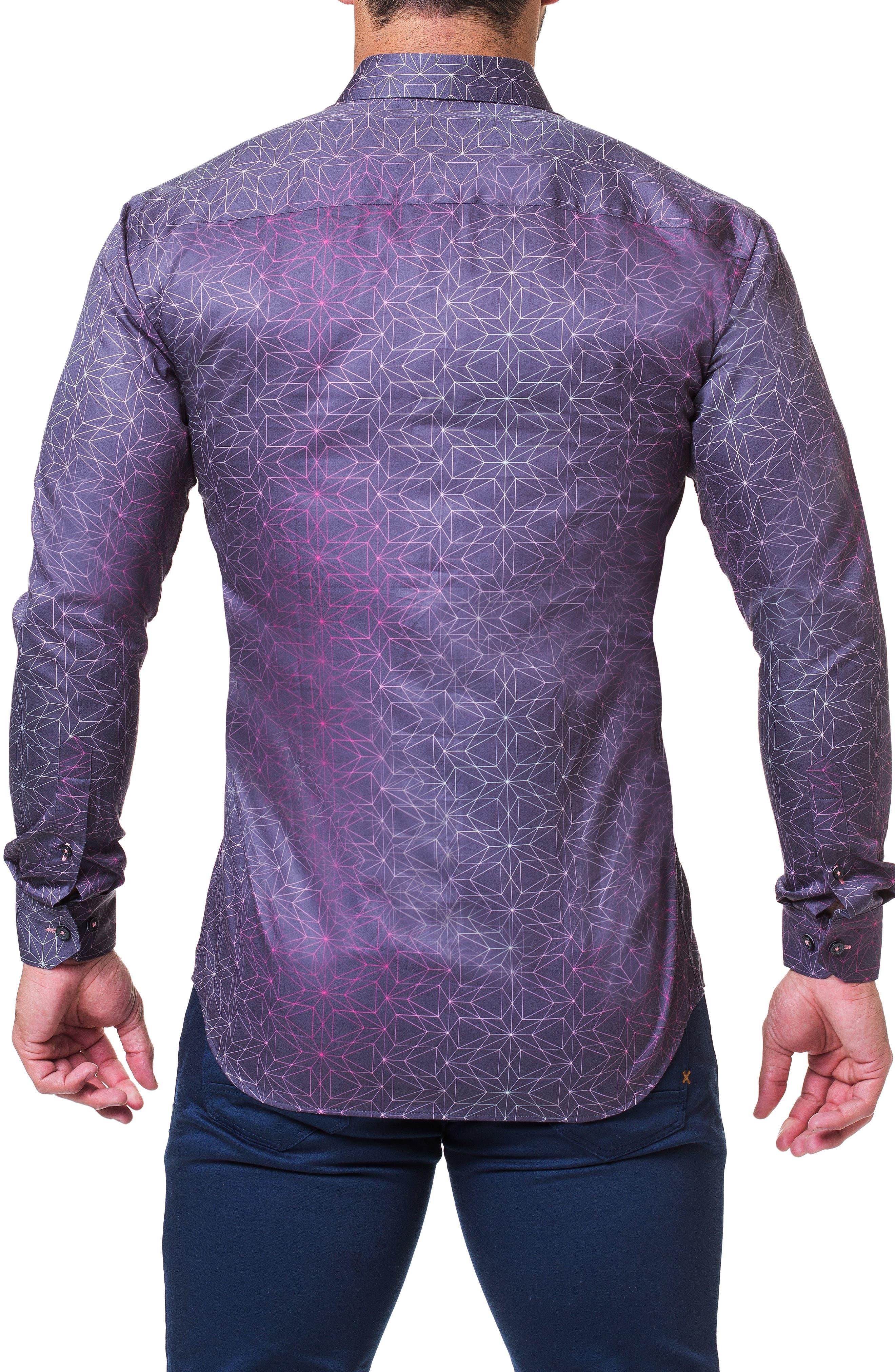 Fibonacci Star Print Sport Shirt,                             Alternate thumbnail 2, color,                             BLUE