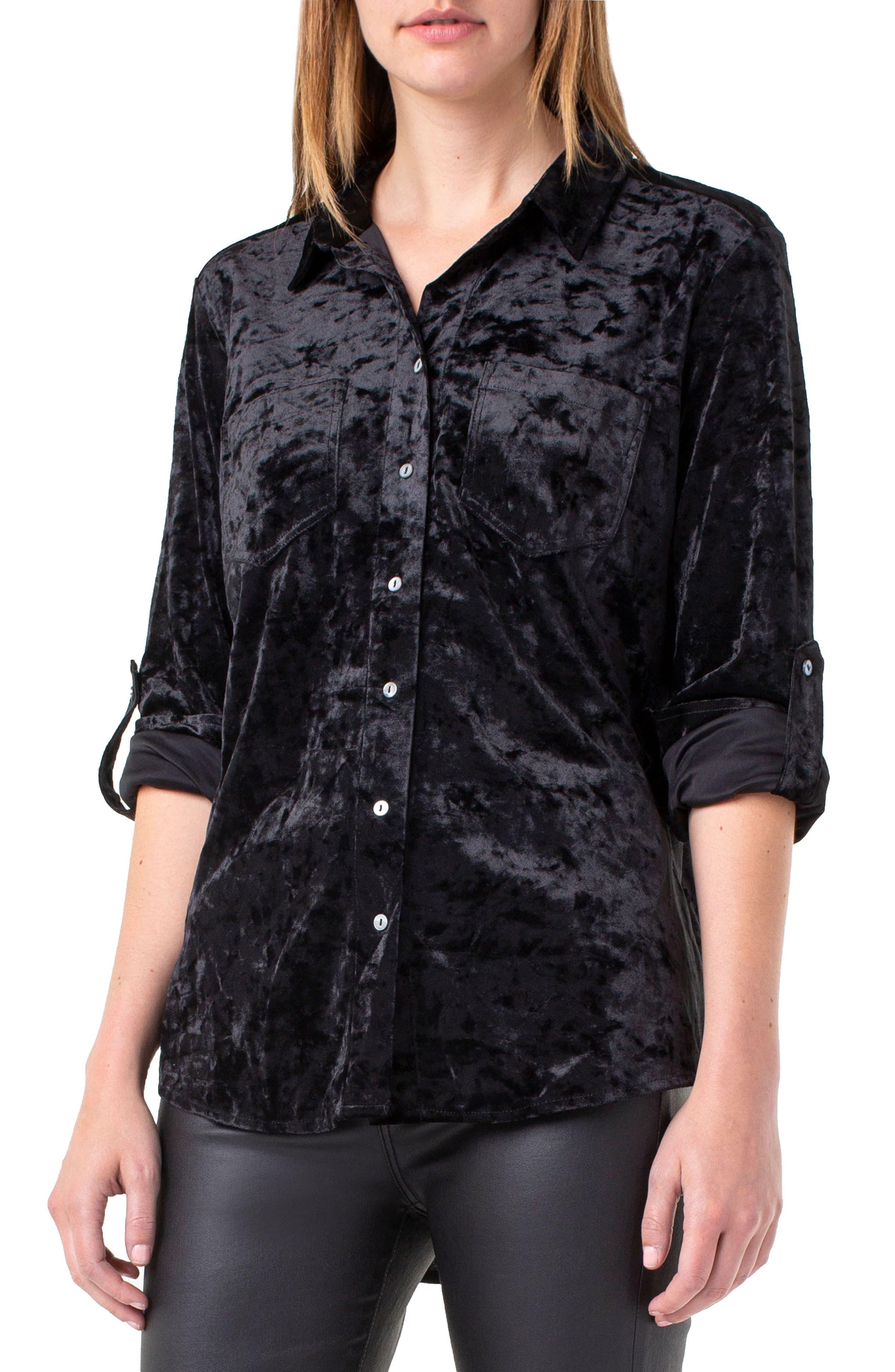 LIVERPOOL Button Back Crushed Velvet Shirt in Black Velvet