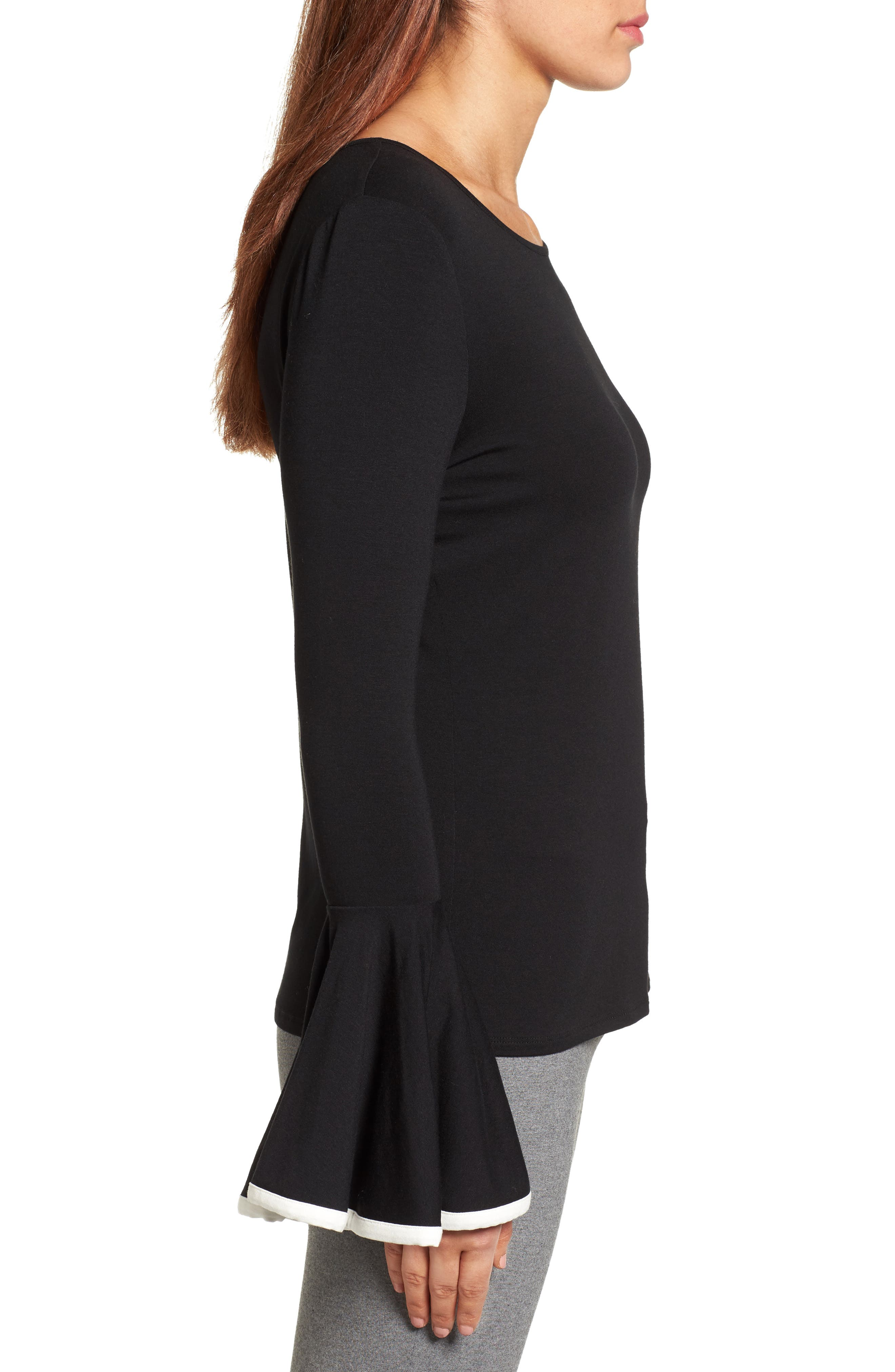 Tipped Bell Sleeve Top,                             Alternate thumbnail 3, color,                             006