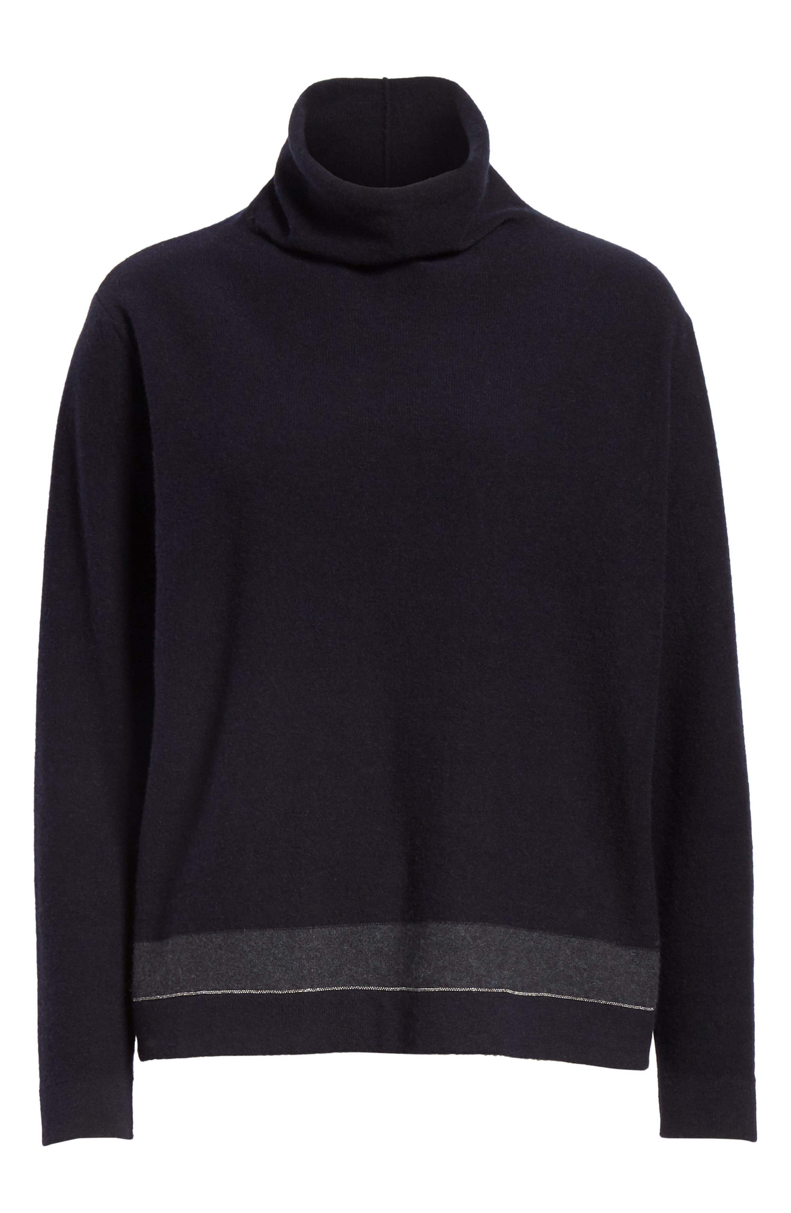 Bead Detail Cashmere Turtleneck Sweater,                             Alternate thumbnail 6, color,                             NIGHT BLUE