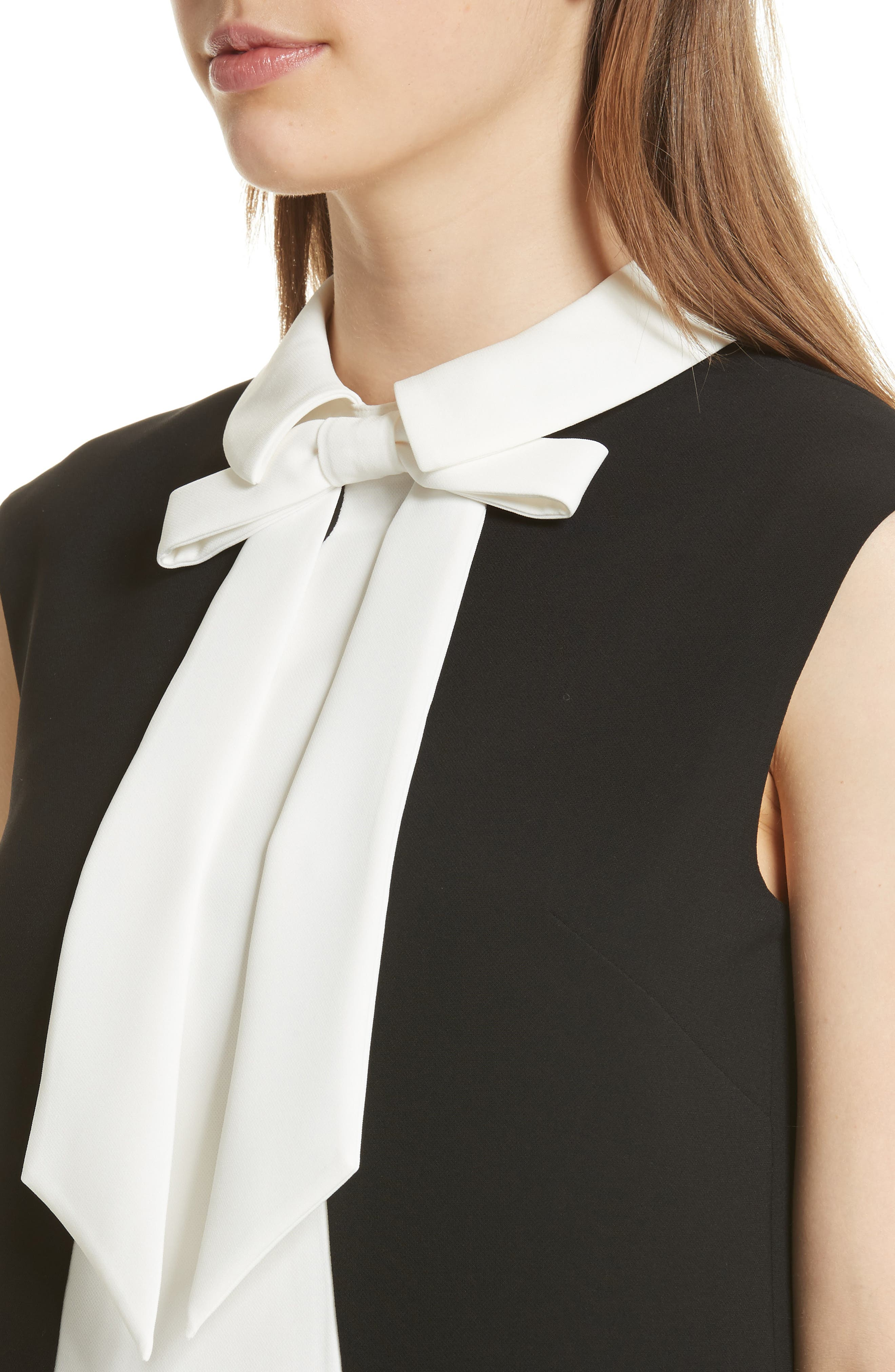 Bow Collar Scalloped Top,                             Alternate thumbnail 4, color,                             001