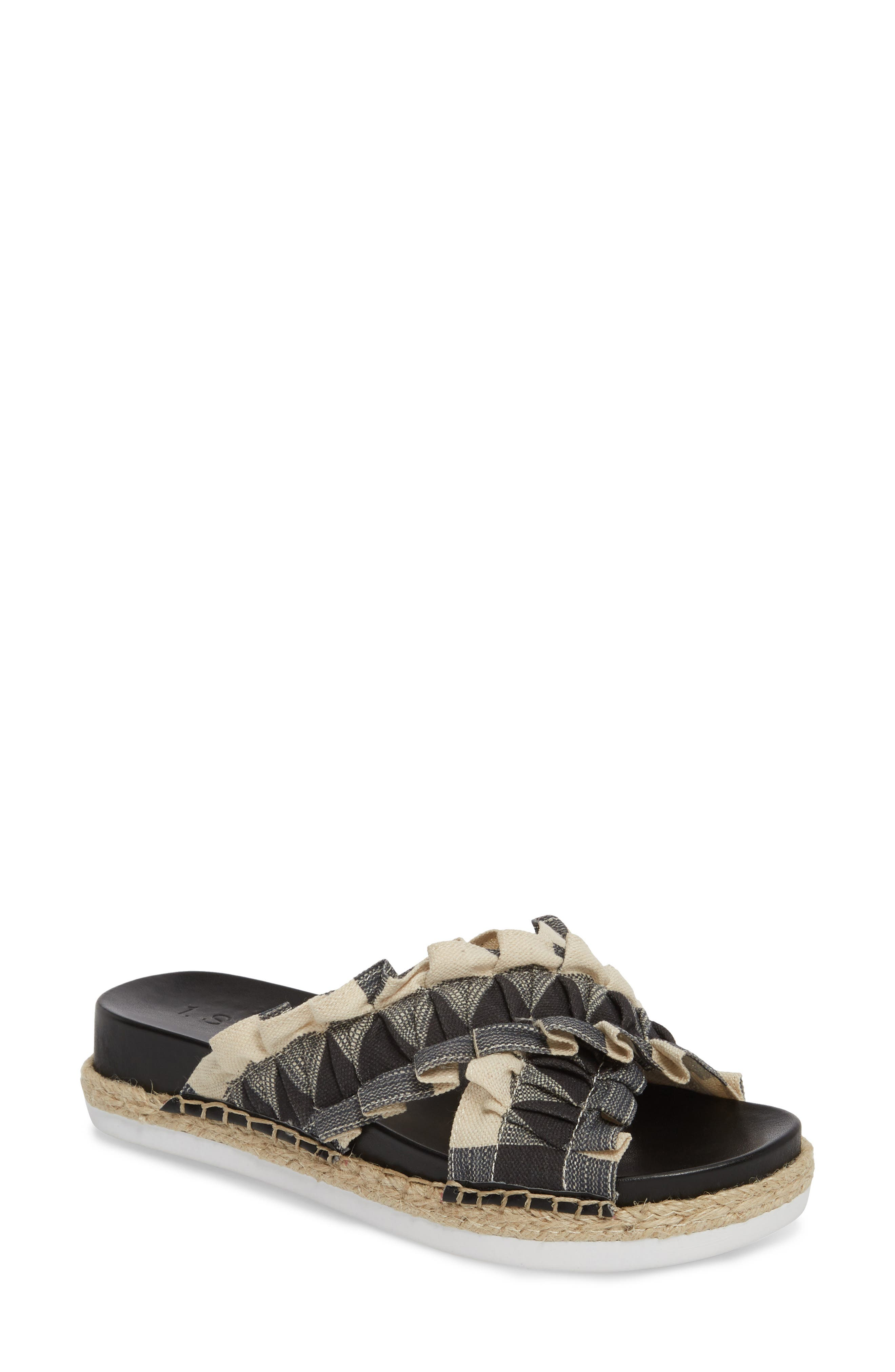 Salyn Slide Sandal,                             Main thumbnail 1, color,                             BLACK GINGHAM LINEN FABRIC