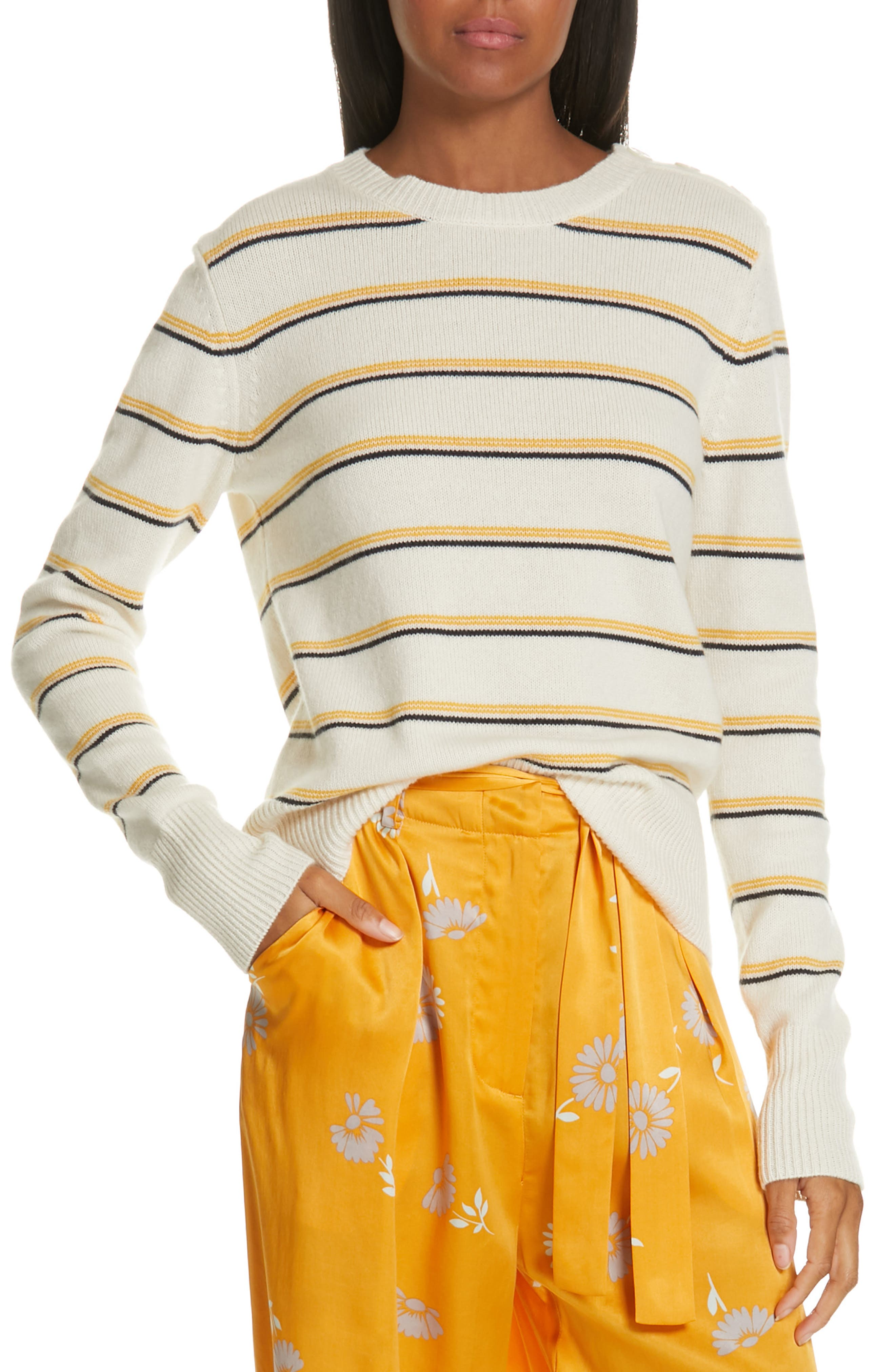 Duru Wool & Cashmere Sweater, Main, color, NATURE WHITE MULTI