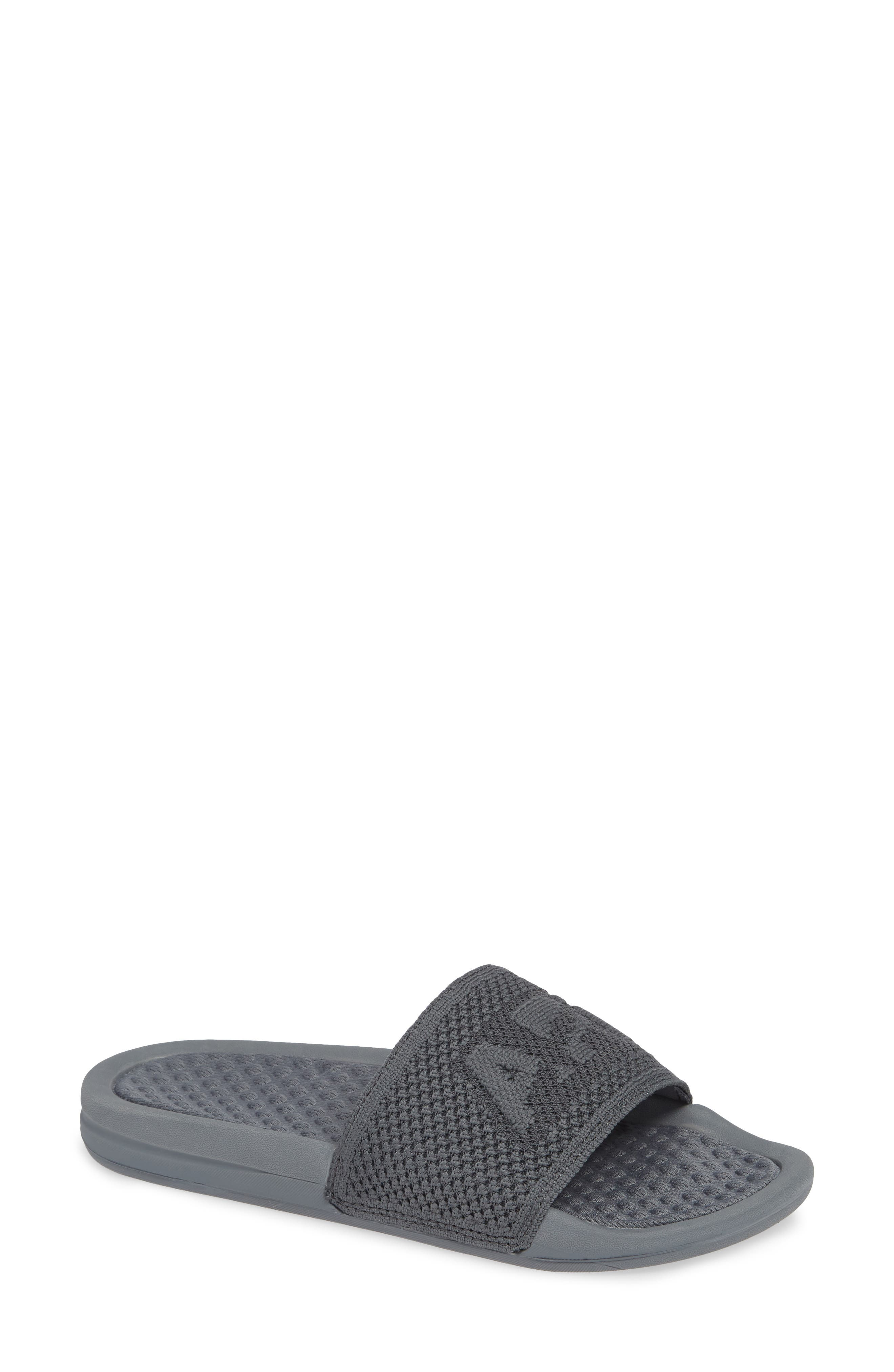 APL ATHLETIC PROPULSION LABS Women'S Logo Techloom Knit Pool Slide Sandals in Cosmic Grey