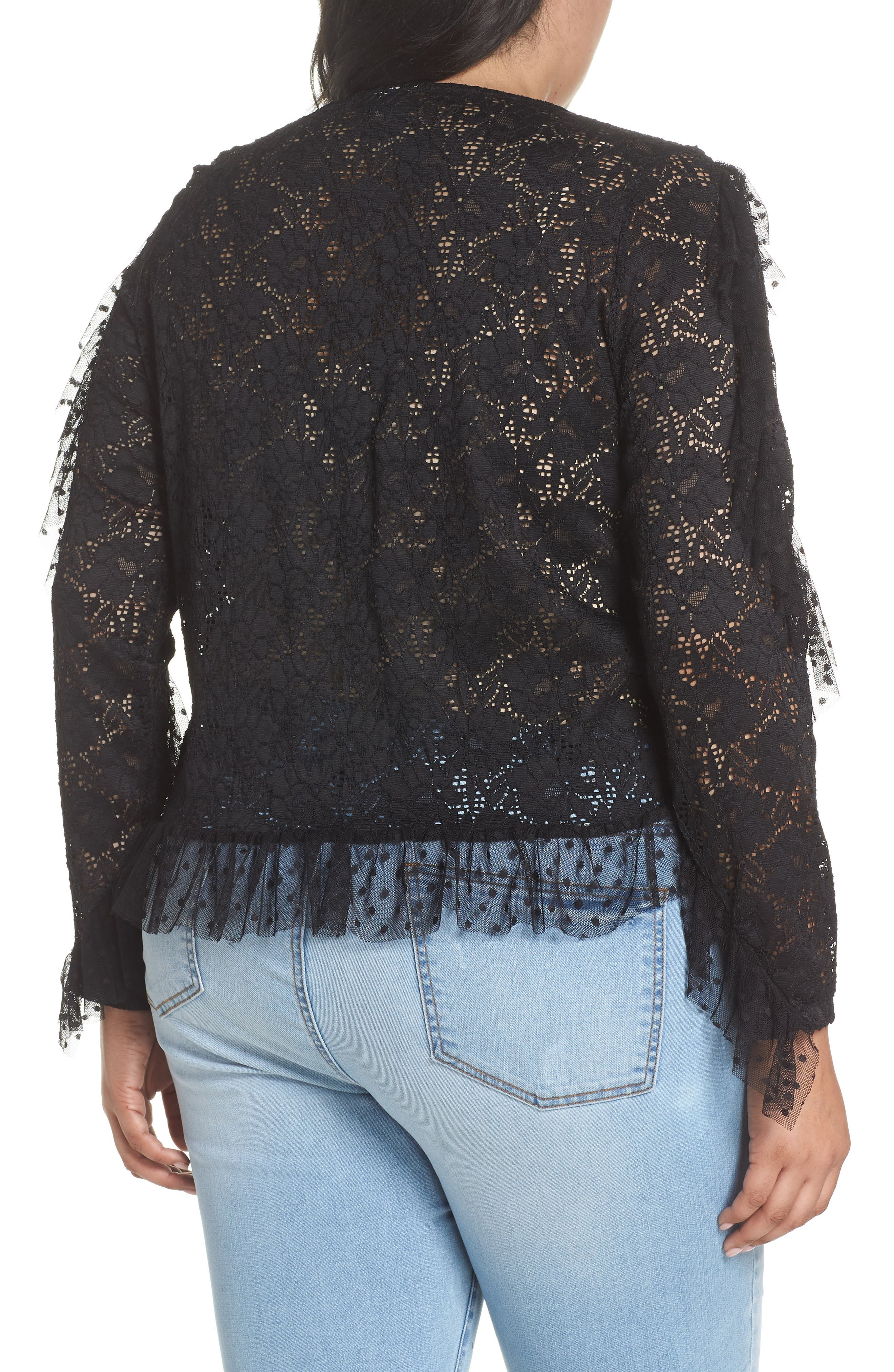 LOST INK,                             Ruffle Trim Lace Top,                             Alternate thumbnail 2, color,                             001