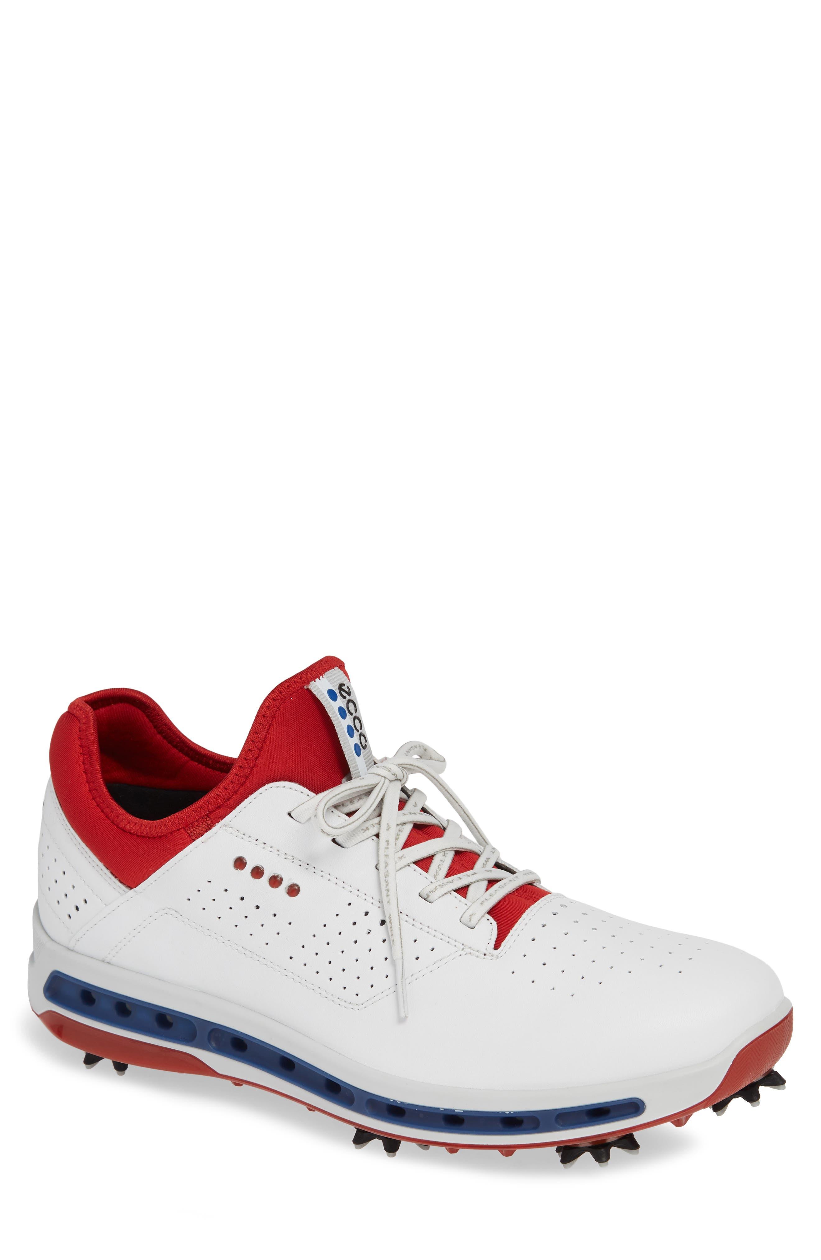 Cool 18 Gore-Tex Golf Shoe,                         Main,                         color, WHITE/ TOMATO