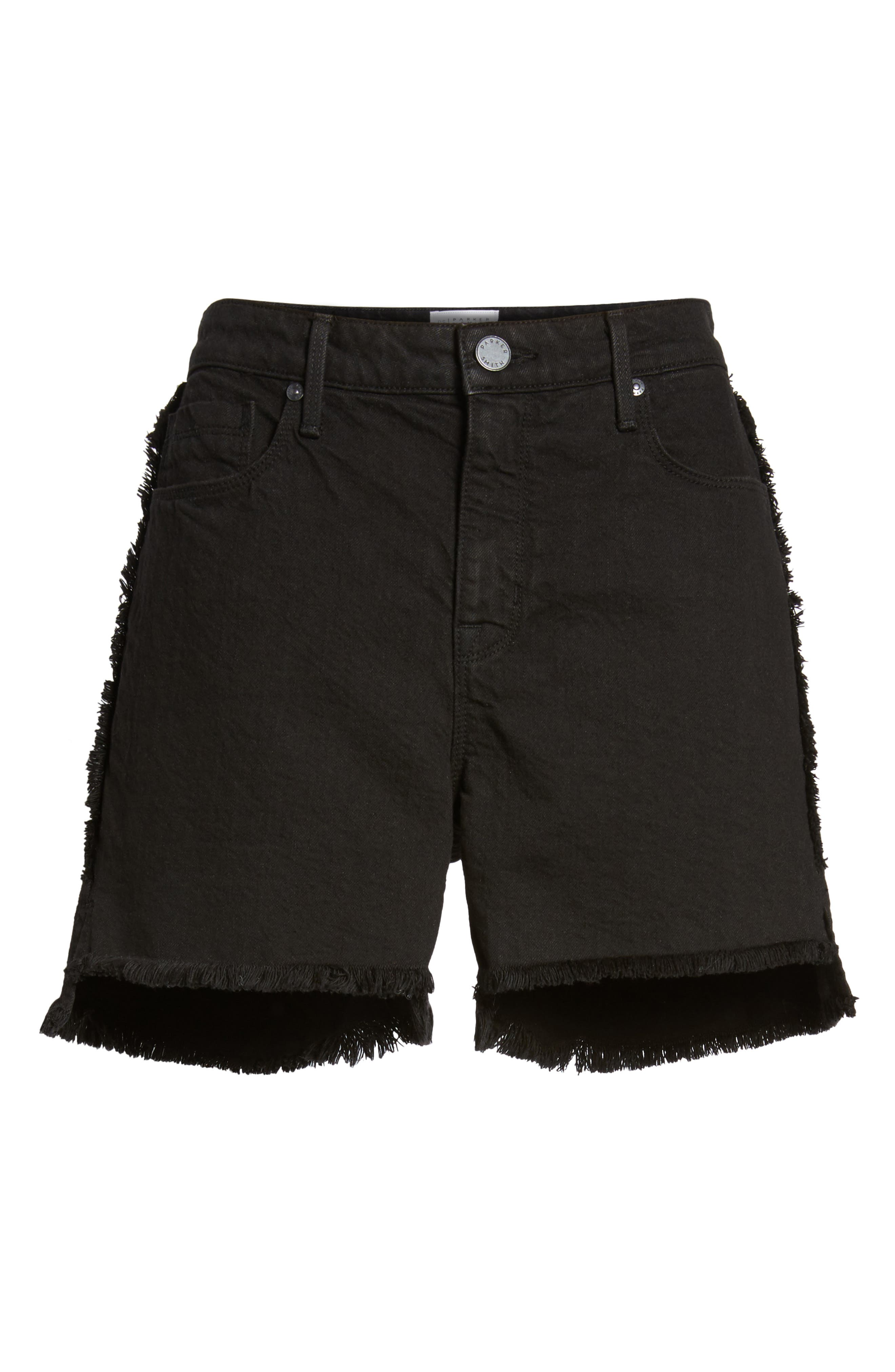 PARKER SMITH,                             Step Hem Frayed Denim Shorts,                             Alternate thumbnail 7, color,                             001