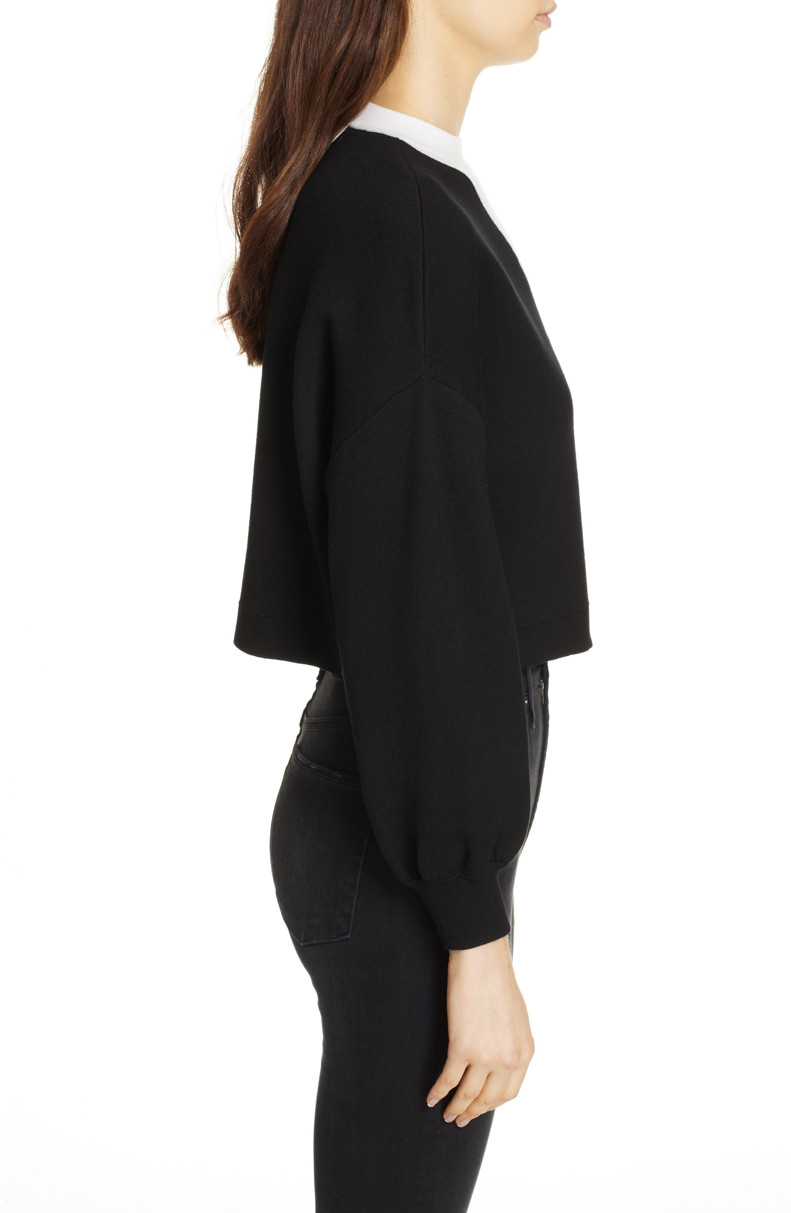 Elyse Asymmetrical Crop Pullover,                             Alternate thumbnail 3, color,                             BLACK/ WHITE