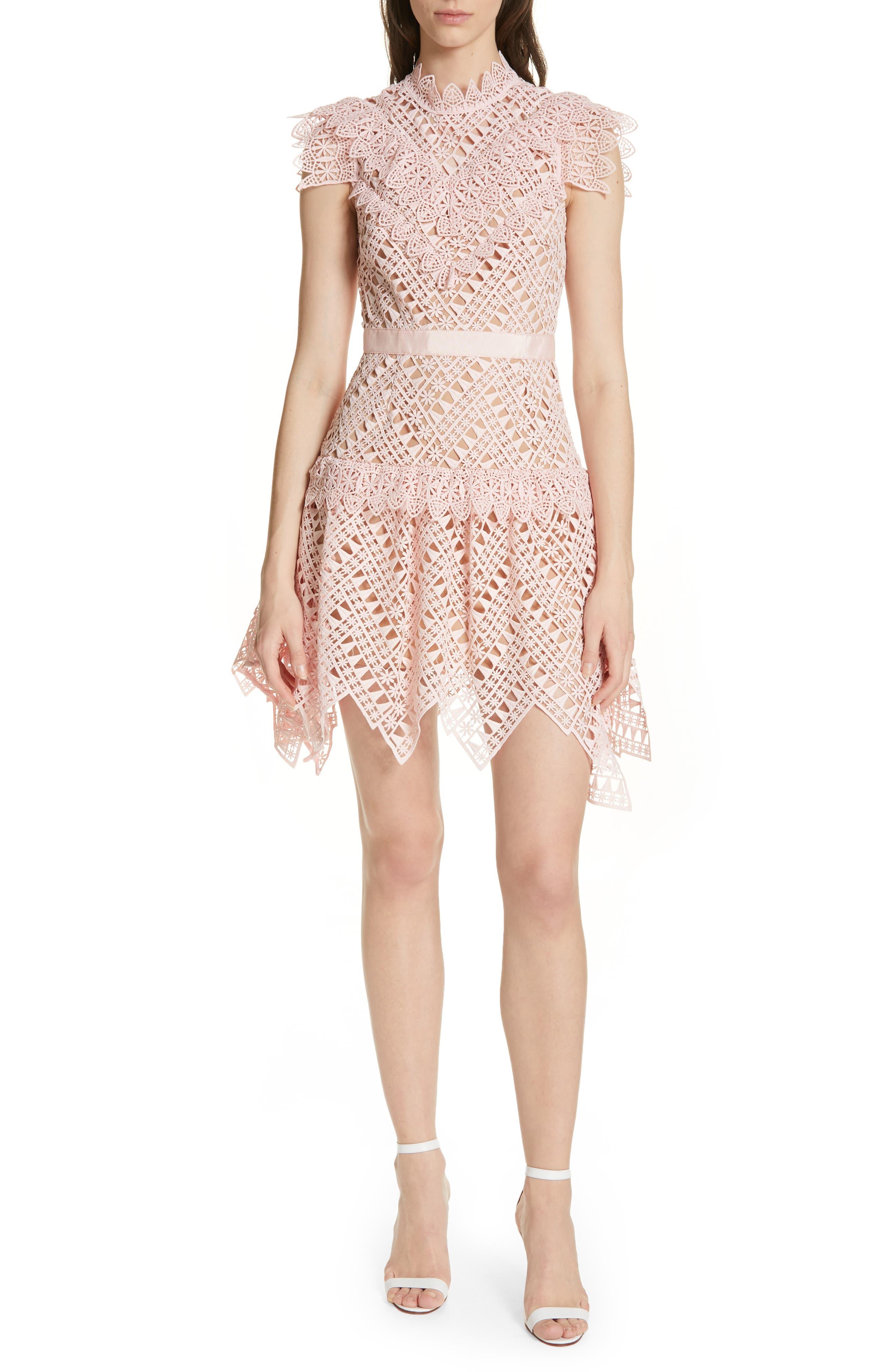 Self-Portrait Triangle Lace Minidress, Pink