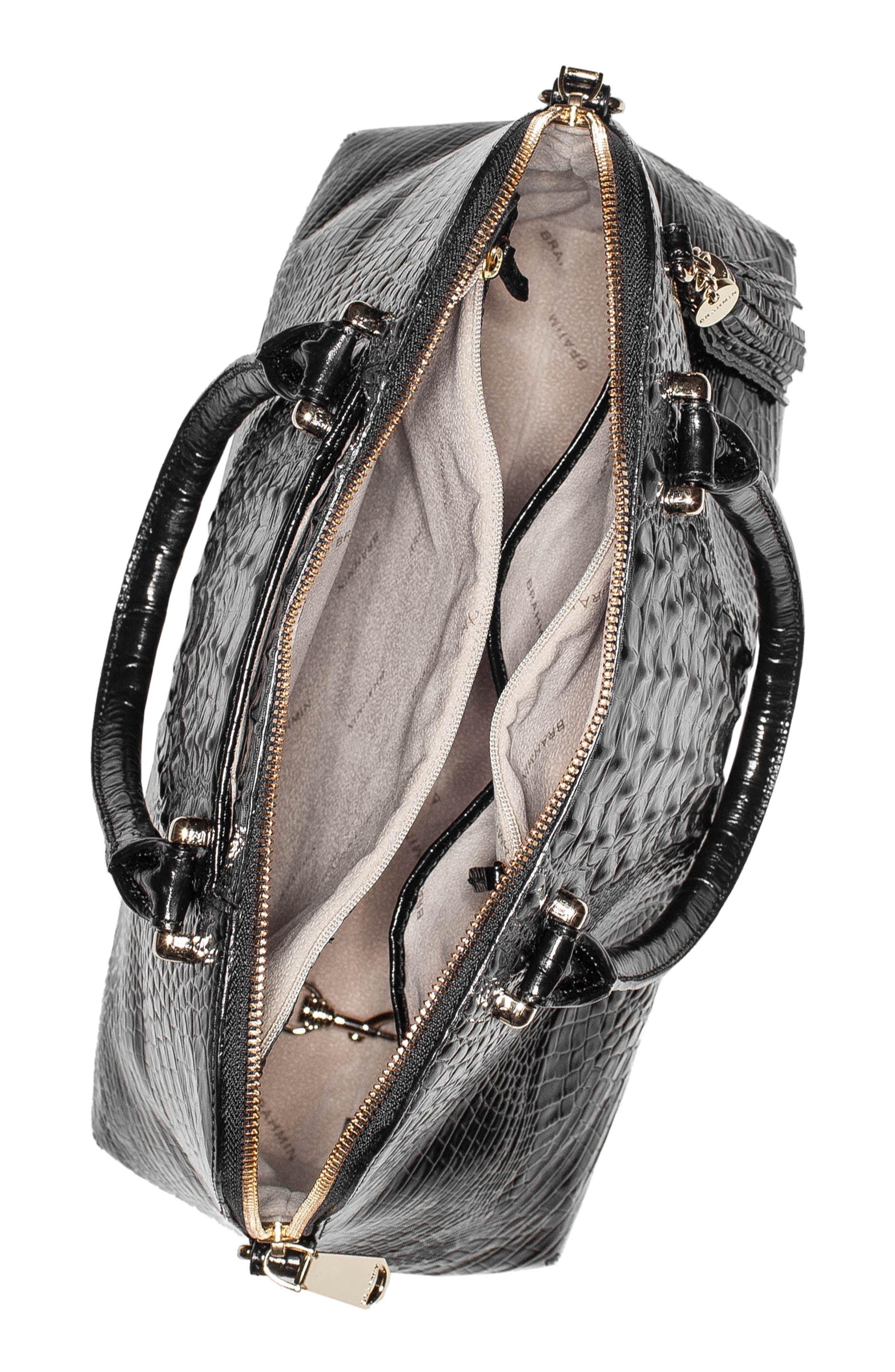 Melbourne – Sydney Croc Embossed Leather Satchel,                             Alternate thumbnail 4, color,                             BLACK