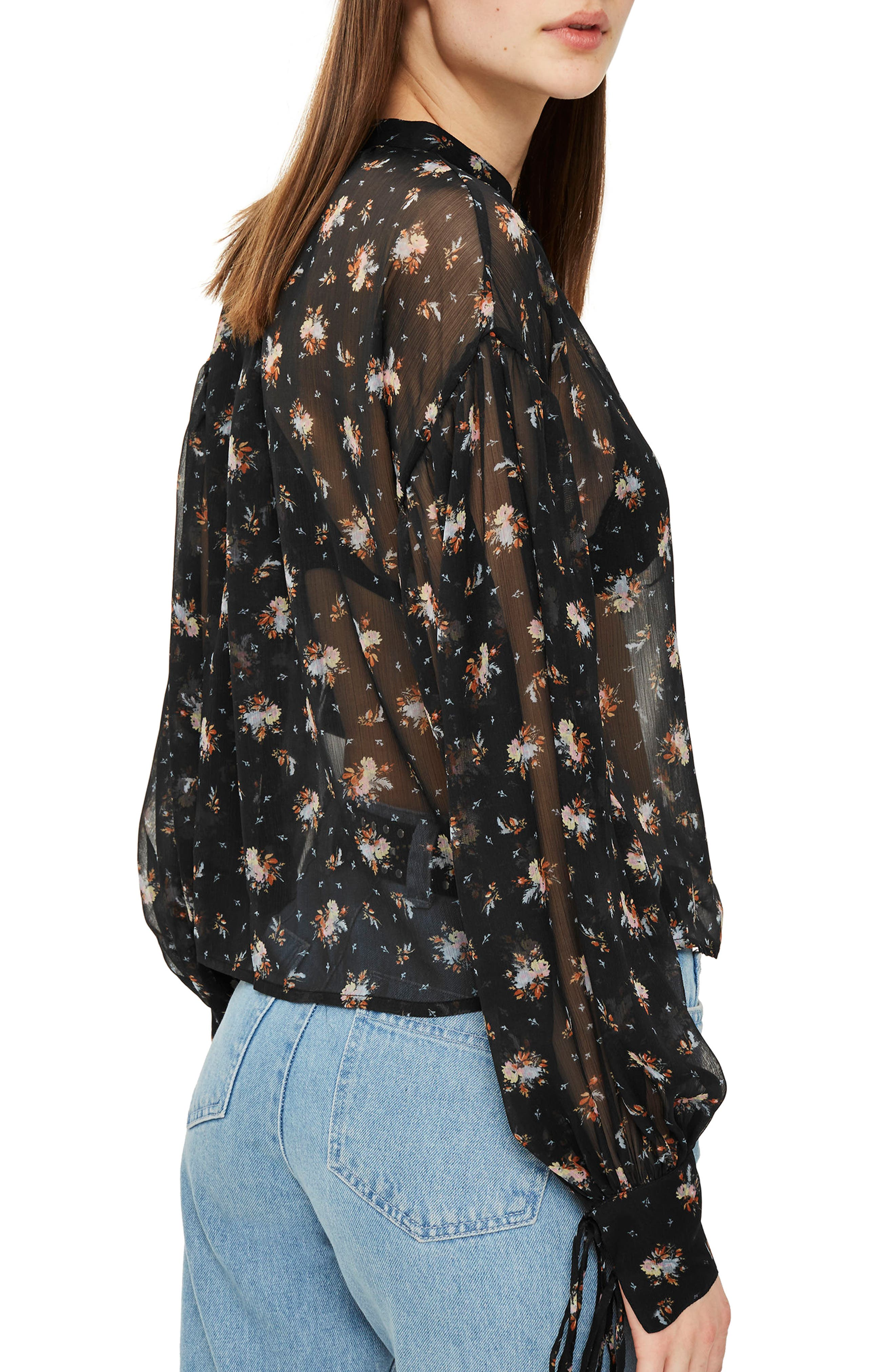 Gypsy Floral Sheer Blouse,                             Alternate thumbnail 2, color,                             001