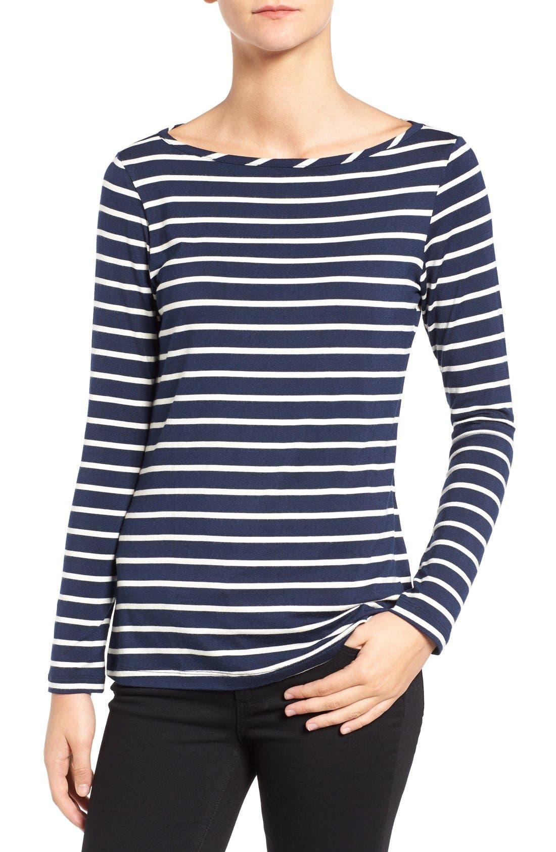 Amour Vert Francoise Stripe Top, Blue