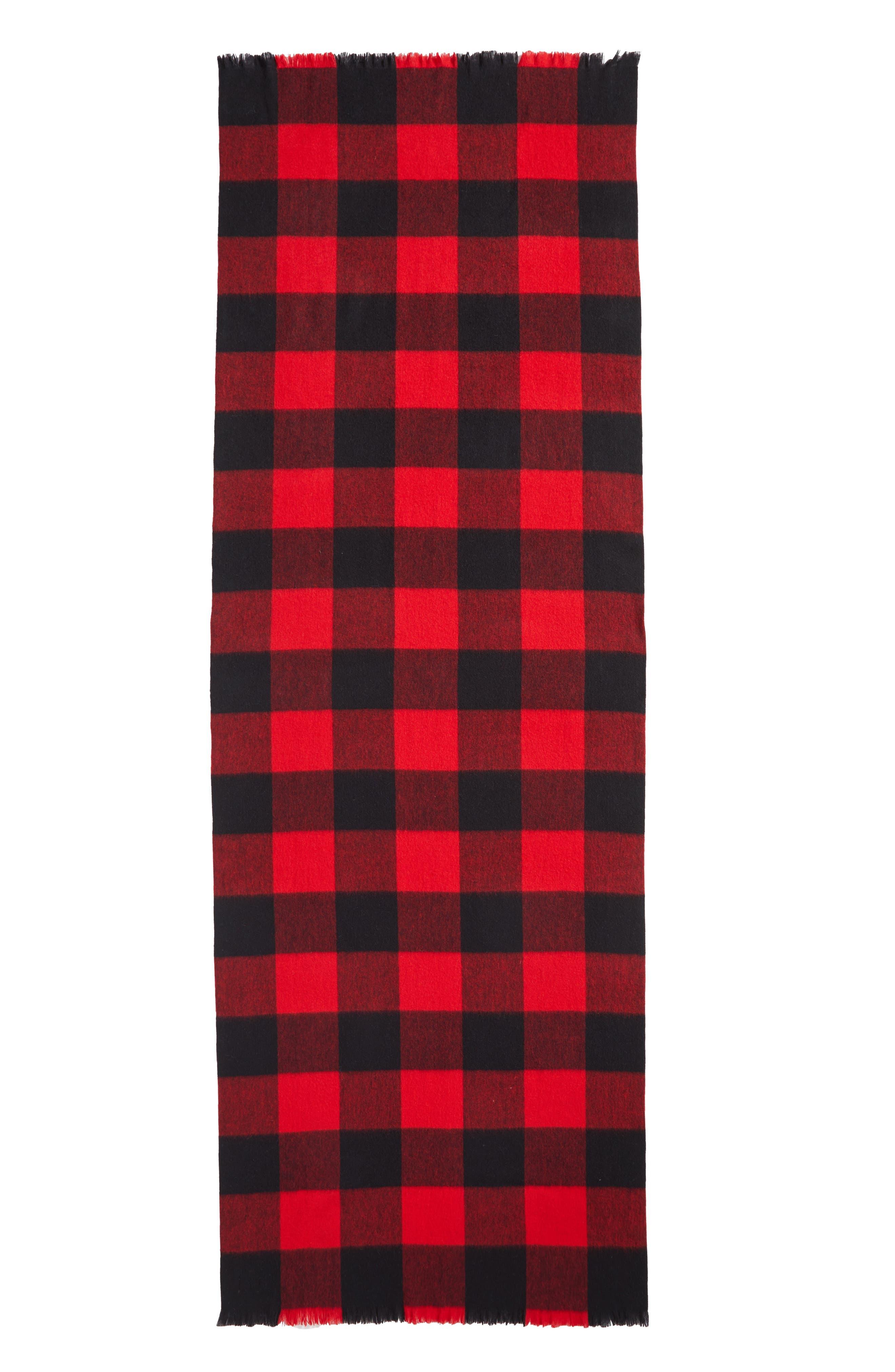 mega check wool scarf,                             Alternate thumbnail 6, color,