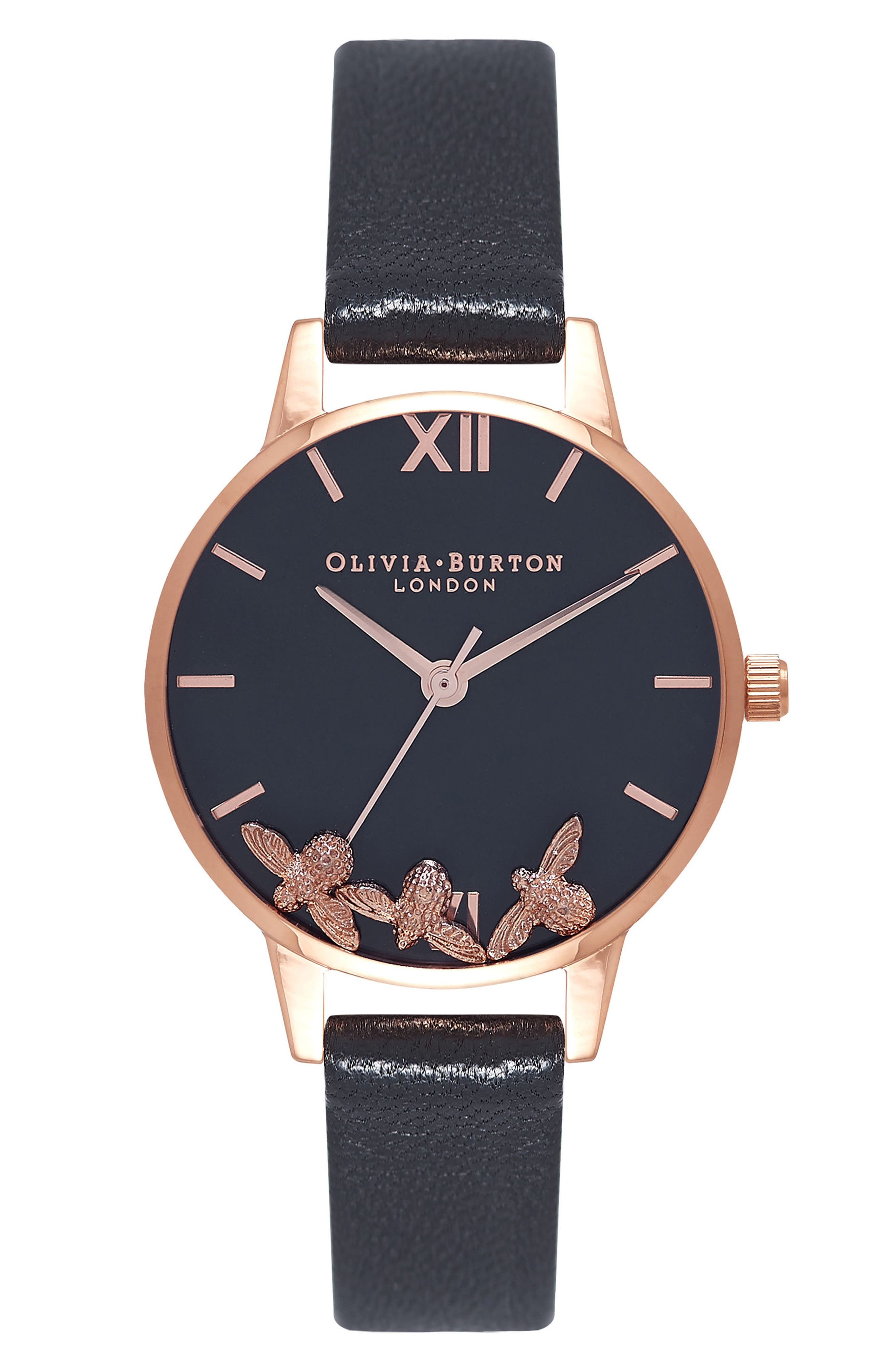 OLIVIA BURTON,                             Busy Bees Leather Strap Watch, 30mm,                             Main thumbnail 1, color,                             BLACK/ ROSE GOLD