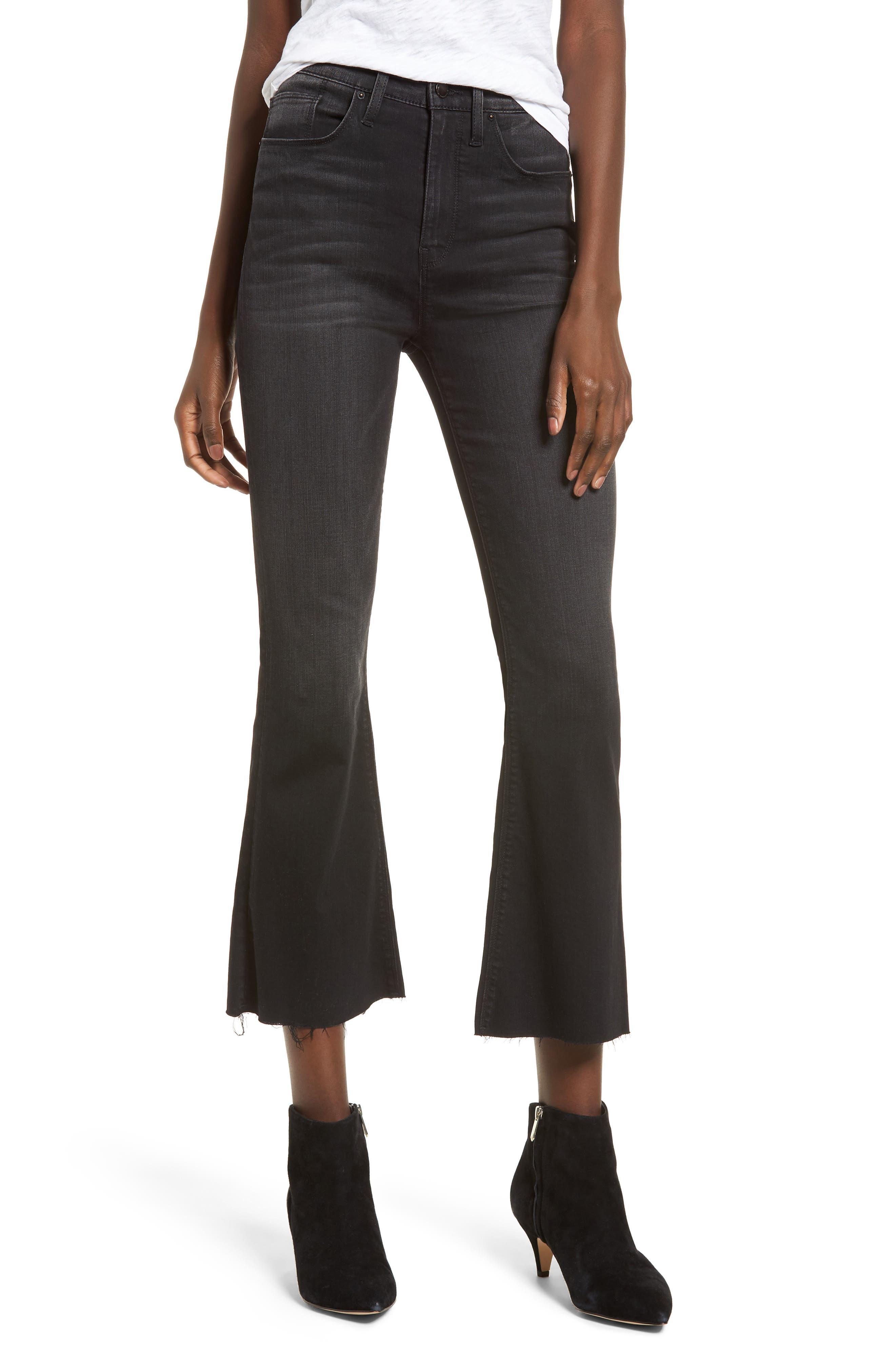 Holly High Waist Crop Flare Jeans,                         Main,                         color, BLACK HOUND